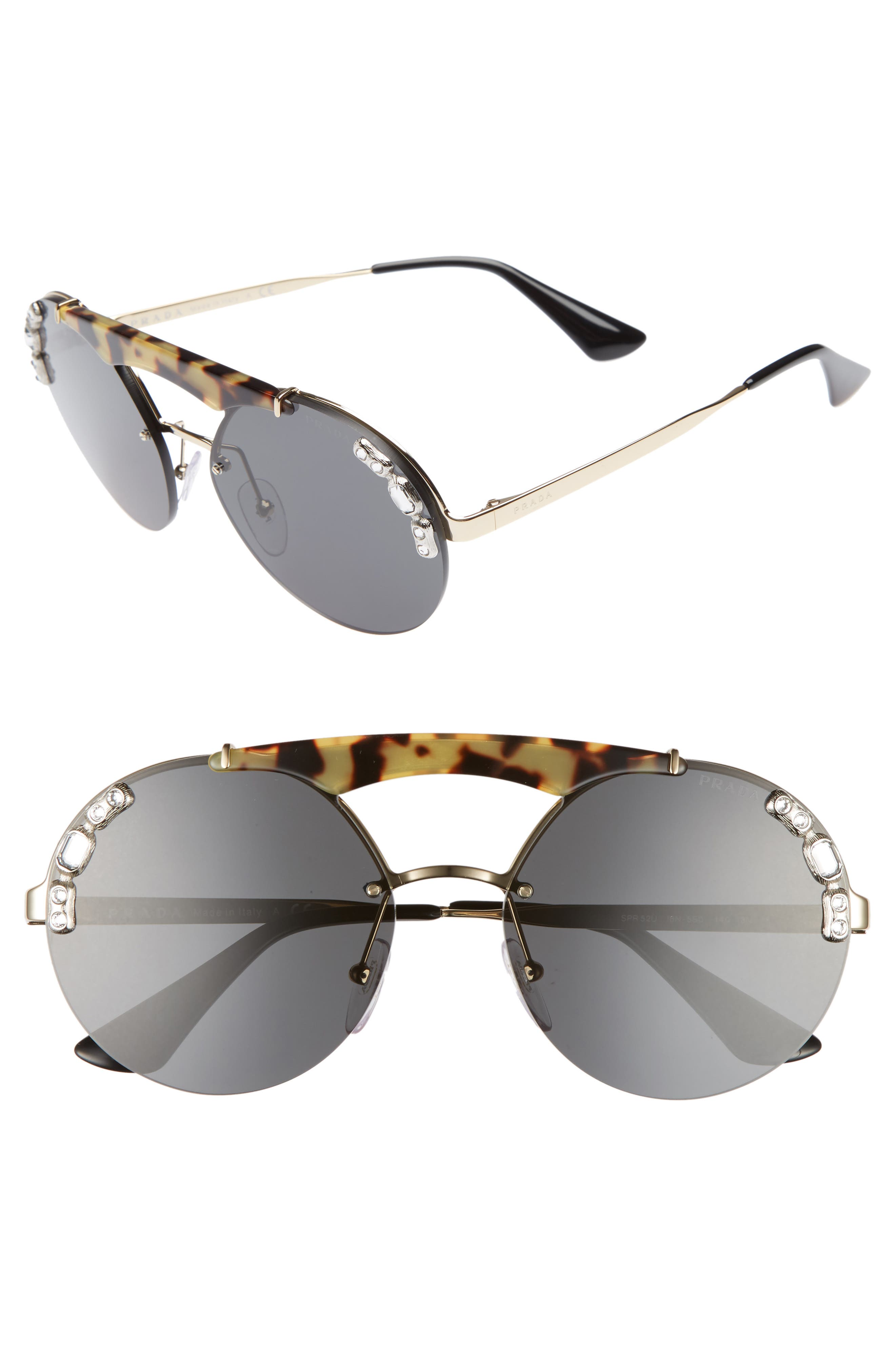 52mm Embellished Round Rimless Sunglasses,                             Main thumbnail 1, color,                             100