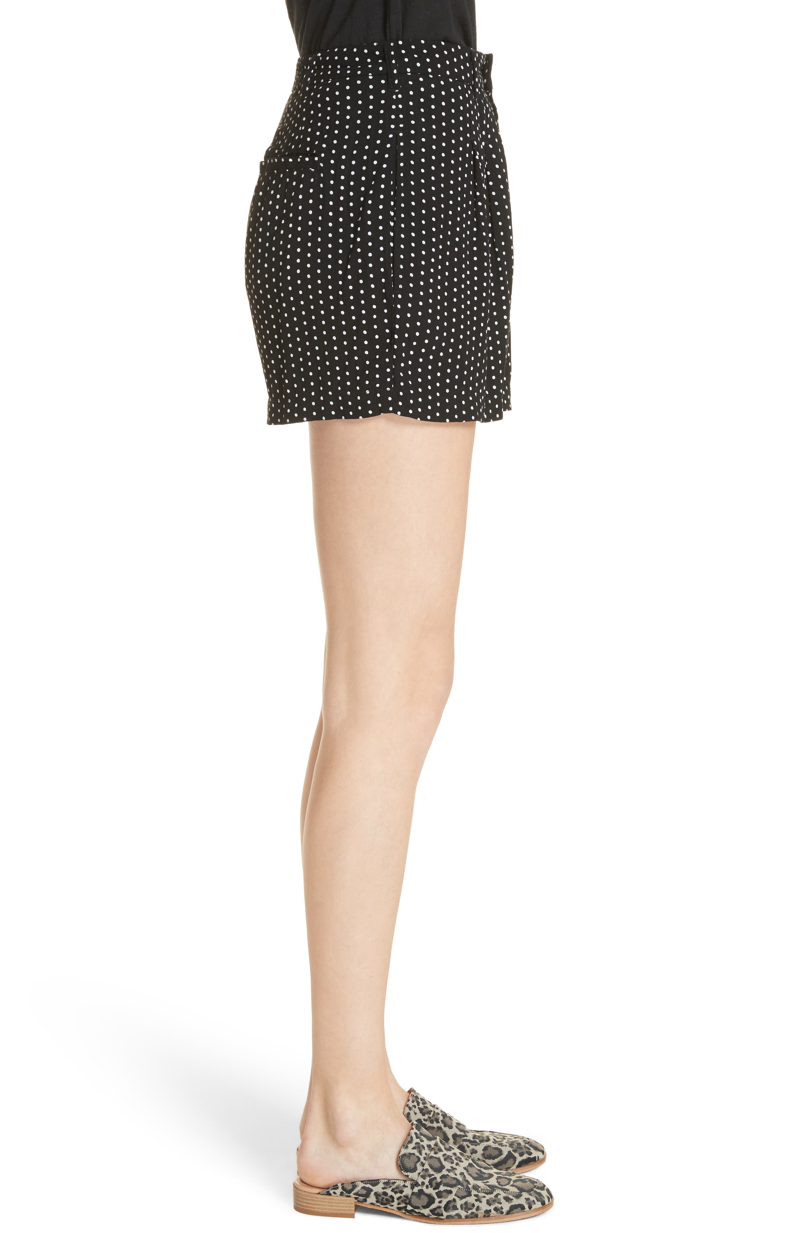 Magdalene Polka Dot Pleated Shorts,                             Alternate thumbnail 3, color,                             001