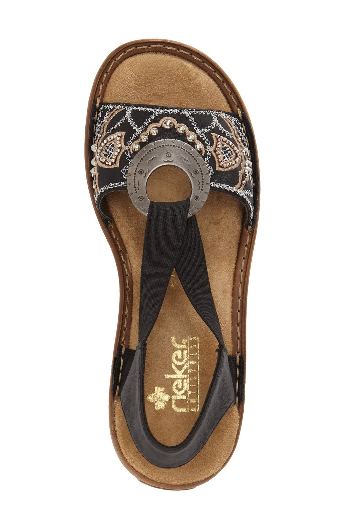 RIEKER ANTISTRESS,                             'Regina' Sandal,                             Alternate thumbnail 3, color,                             BLACK FABRIC