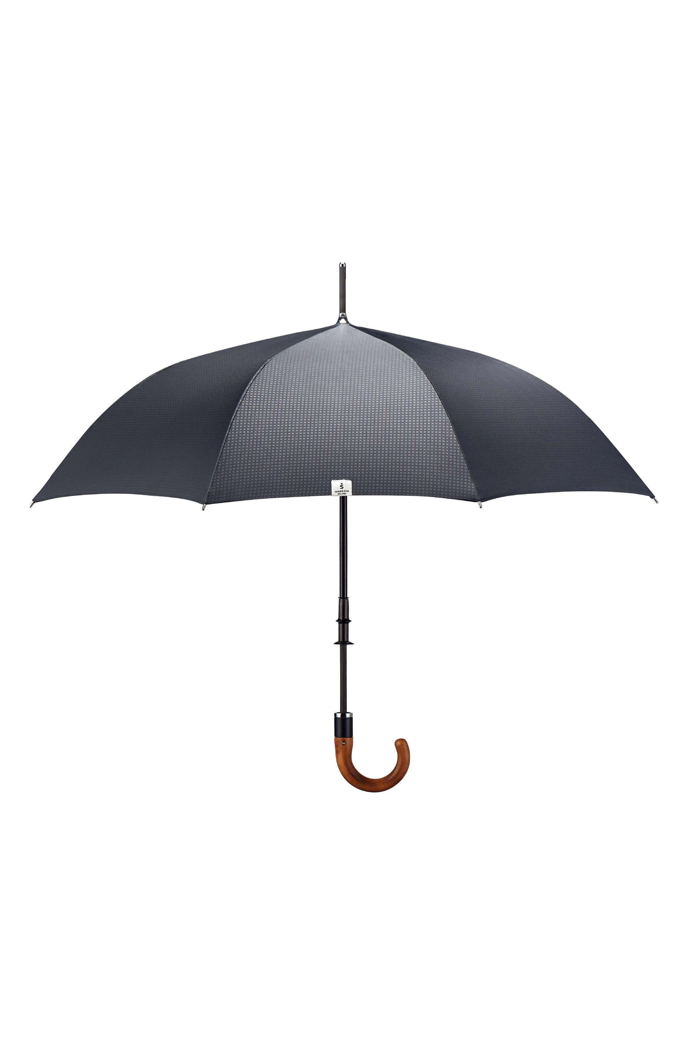 Stratus Auto Open Stick Umbrella,                             Alternate thumbnail 5, color,                             BLACK