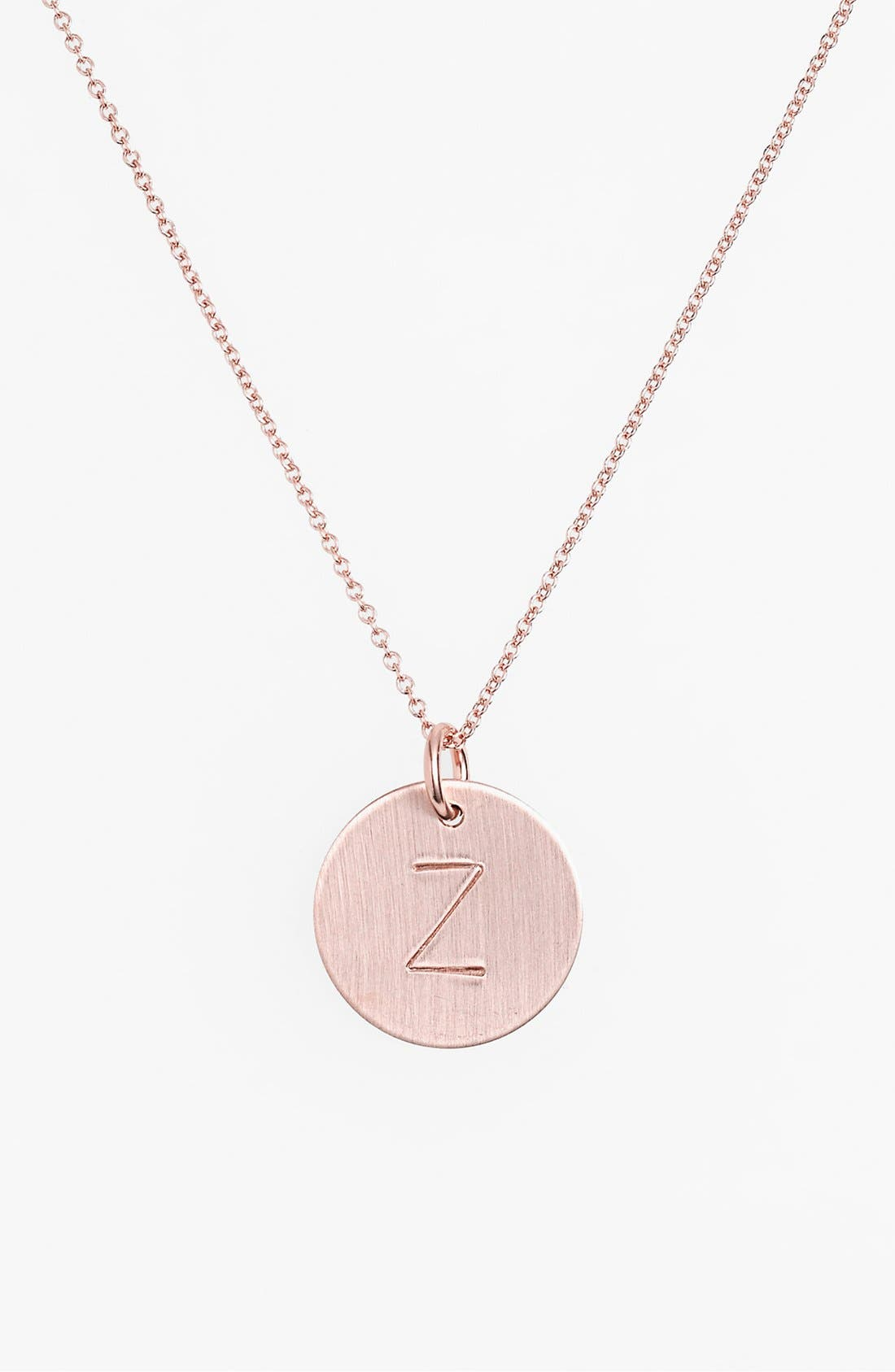 14k-Rose Gold Fill Initial Disc Necklace,                             Main thumbnail 26, color,