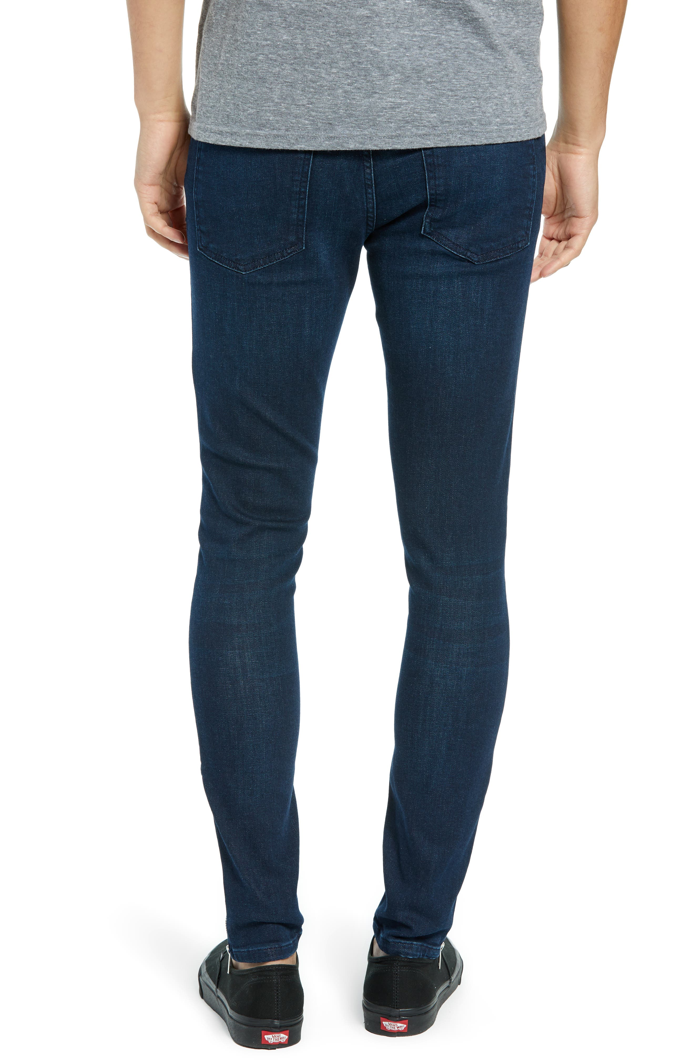 Zip Hem Spray-On Skinny Jeans,                             Alternate thumbnail 2, color,                             BLUE