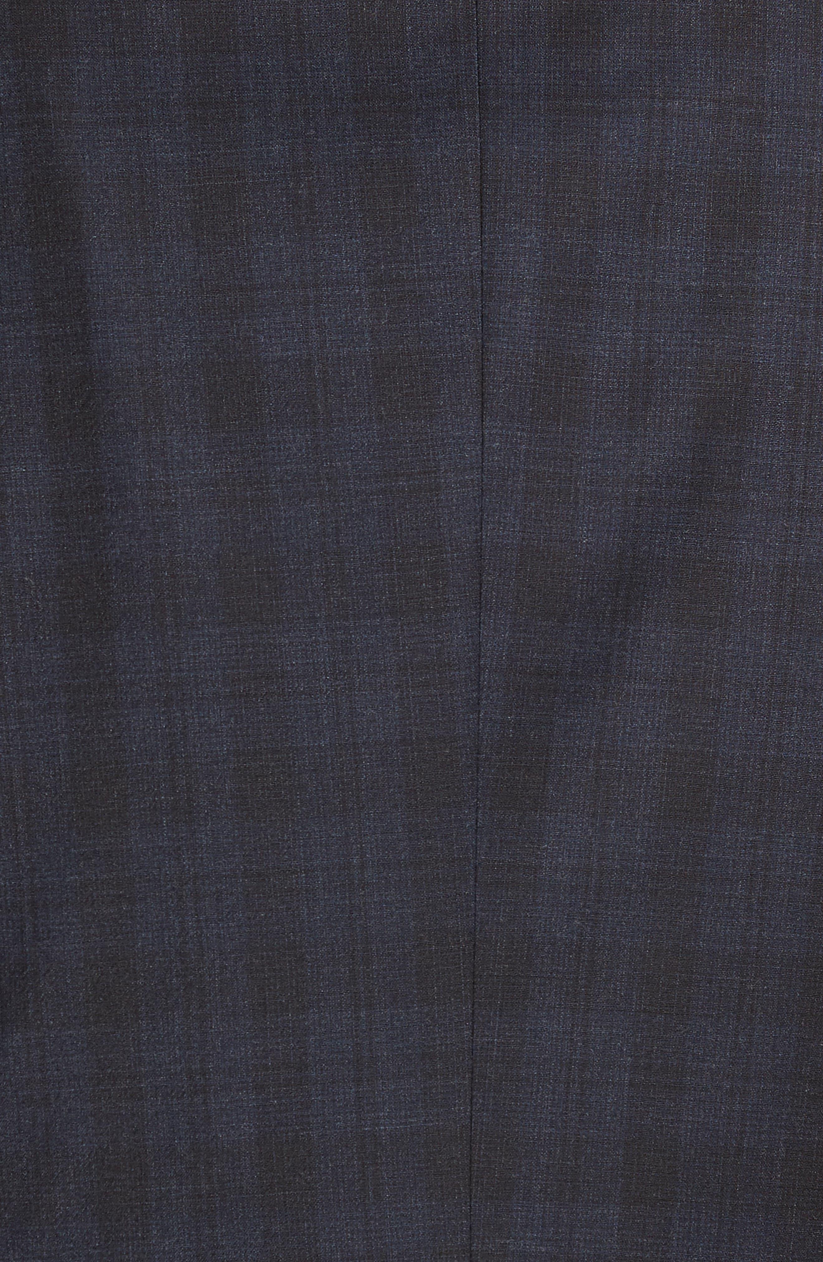 Huge/Genius Trim Fit Stretch Plaid Wool Suit,                             Alternate thumbnail 6, color,                             BLUE