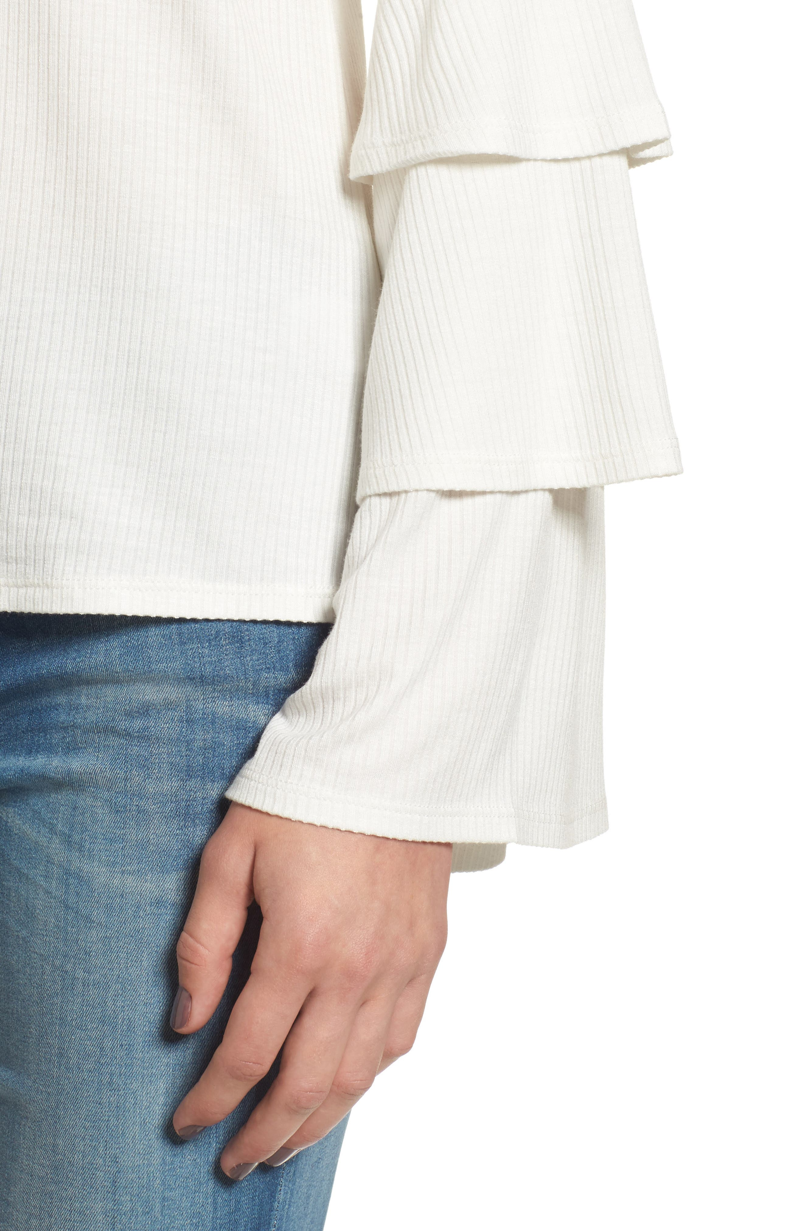 Ruffle Sleeve Ribbed Sweater,                             Alternate thumbnail 16, color,