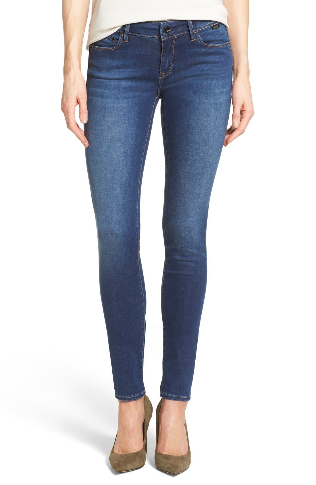 Gold 'Adriana' Stretch Super Skinny Jeans, Main, color, 401