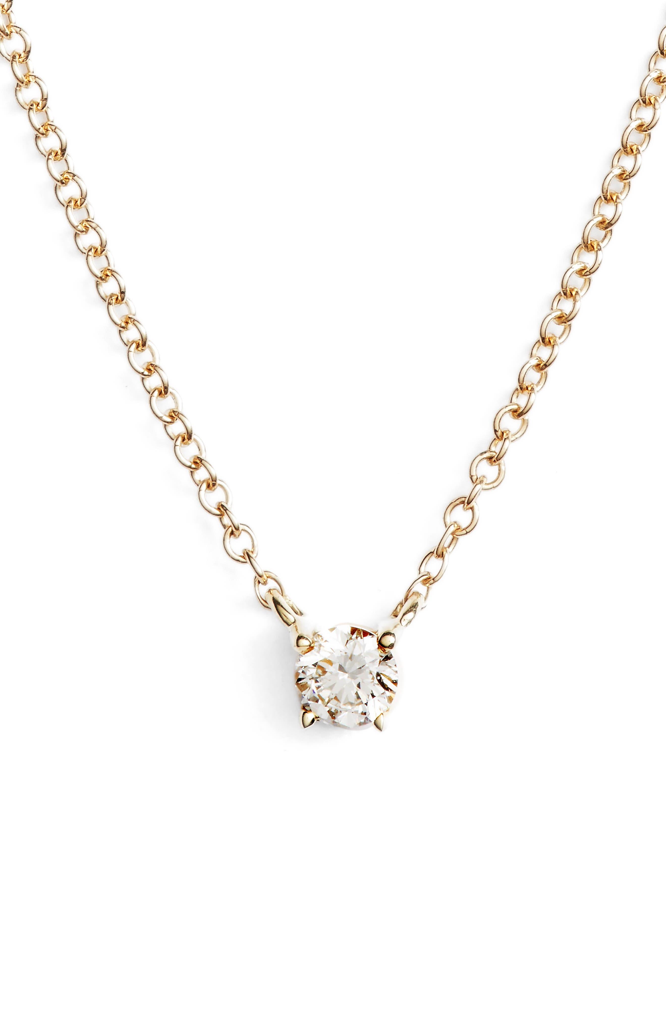 Petite Liora Diamond Solitaire Pendant Necklace,                             Main thumbnail 1, color,                             YELLOW GOLD