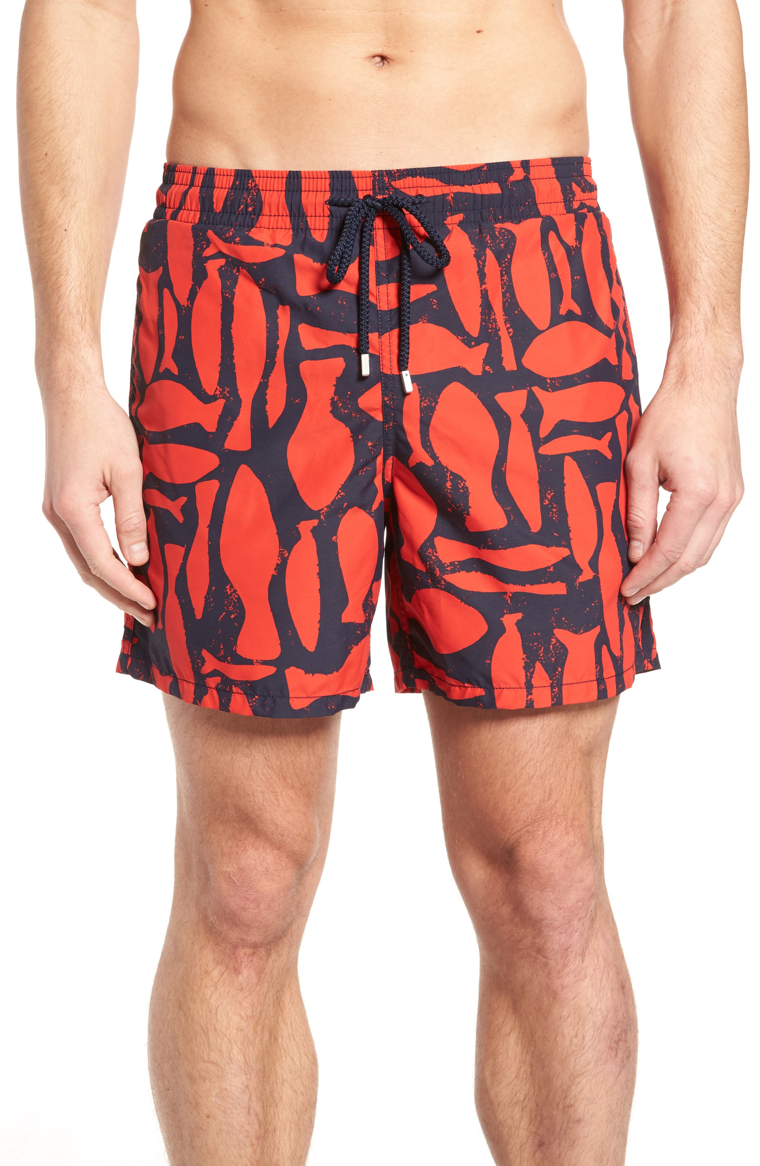 Silex Fishes Swim Trunks,                             Main thumbnail 1, color,                             POPPY RED