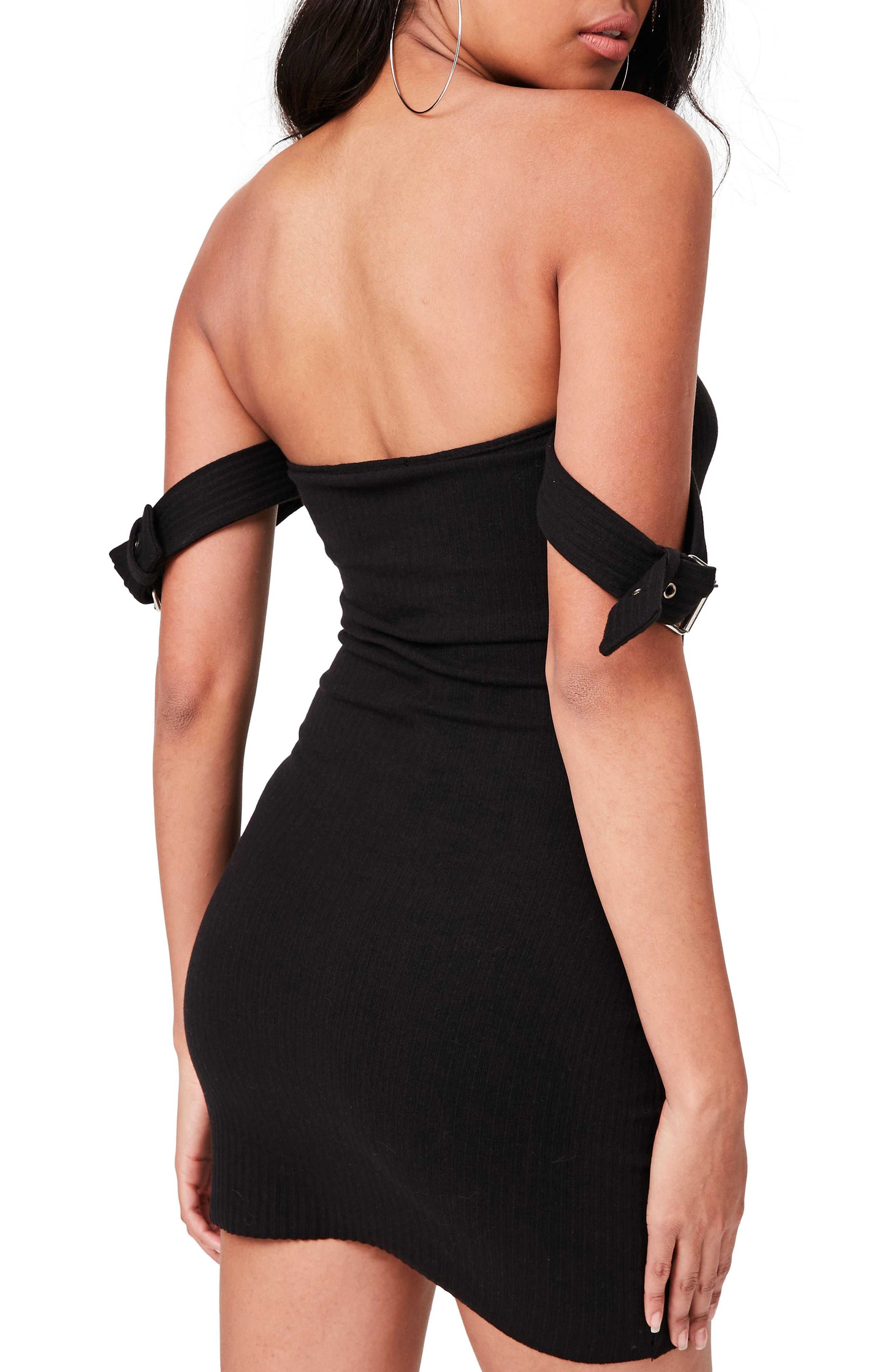 Bardot Buckled Body-Con Dress,                             Alternate thumbnail 2, color,