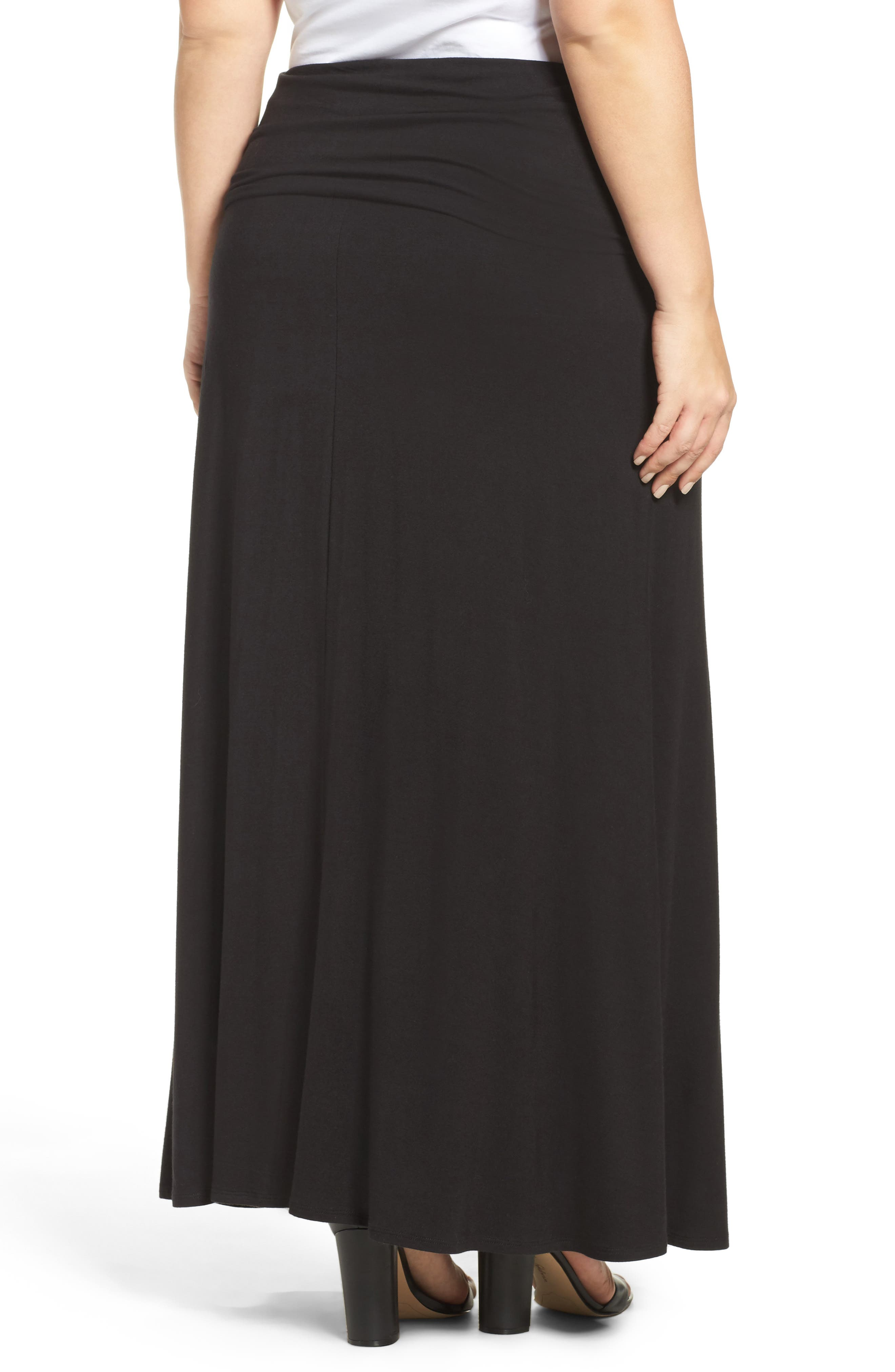 Fold Over Maxi Skirt,                             Alternate thumbnail 2, color,                             BLACK