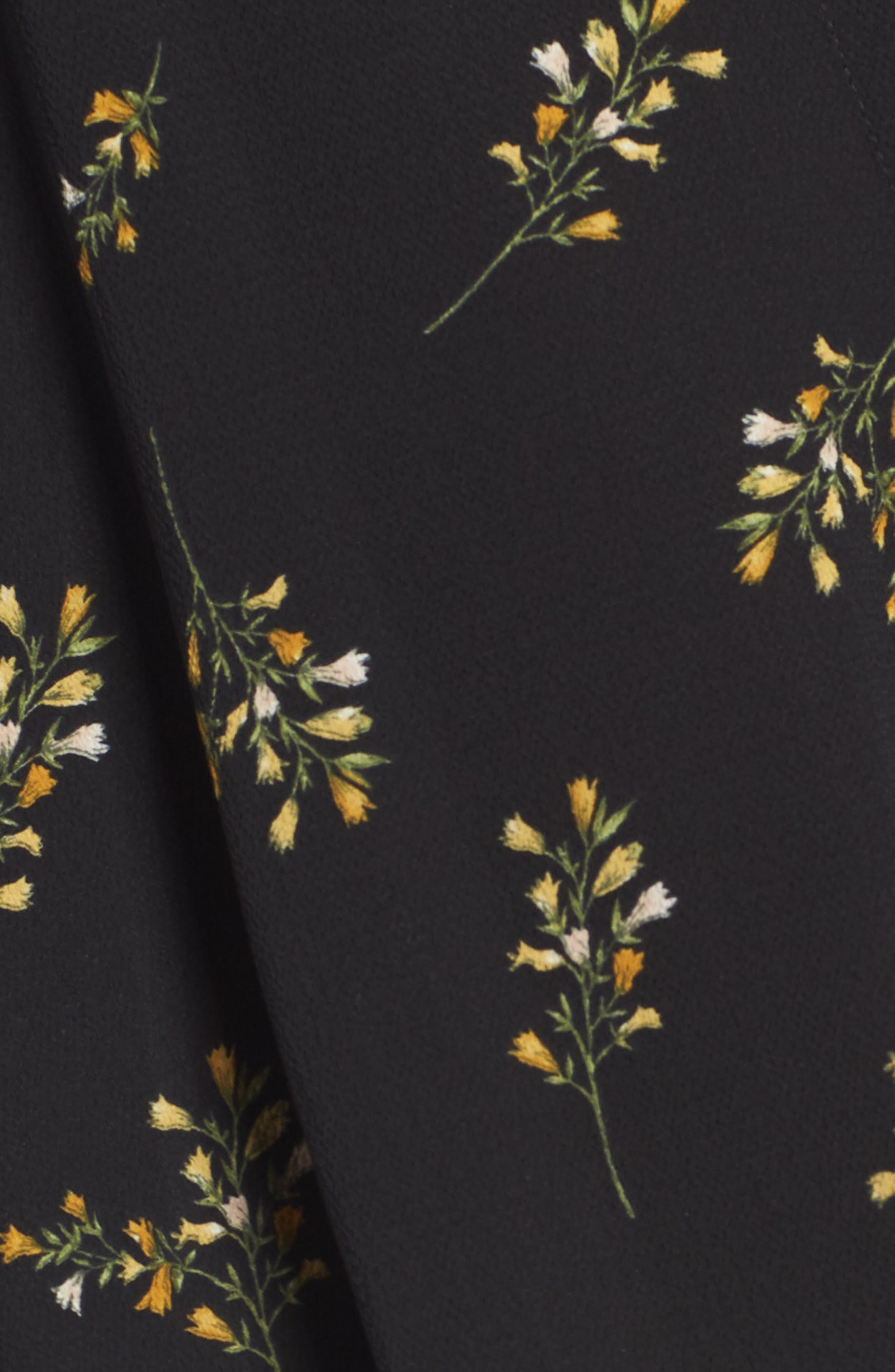 Patterned Drape Front Blouse,                             Alternate thumbnail 5, color,                             BLACK GROUND FLORAL