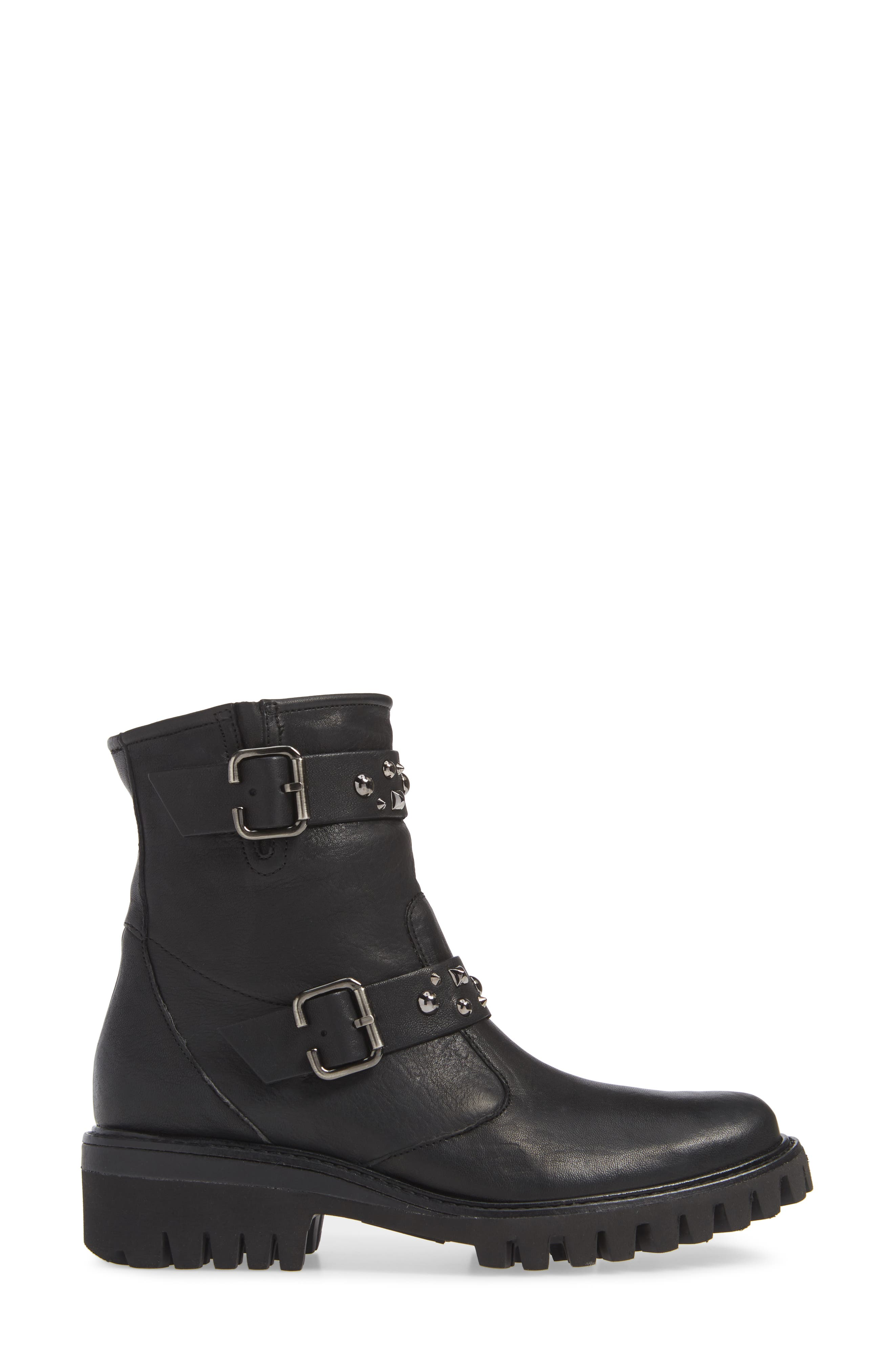 Veronia Studded Buckle Boot,                             Alternate thumbnail 3, color,                             BLACK LEATHER