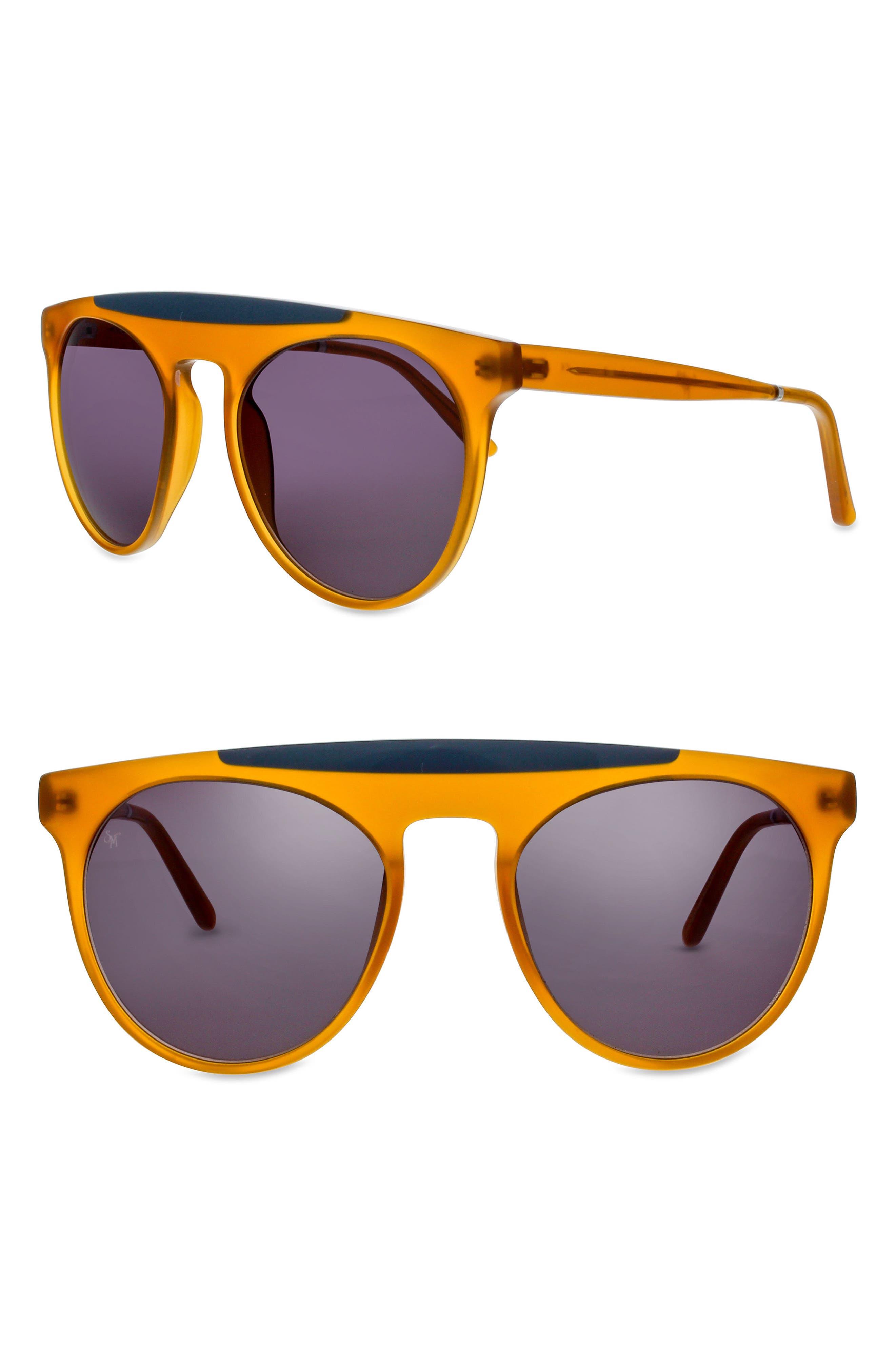 Atomic 52mm Round Sunglasses,                             Main thumbnail 1, color,                             MIEL- MILKY GREY