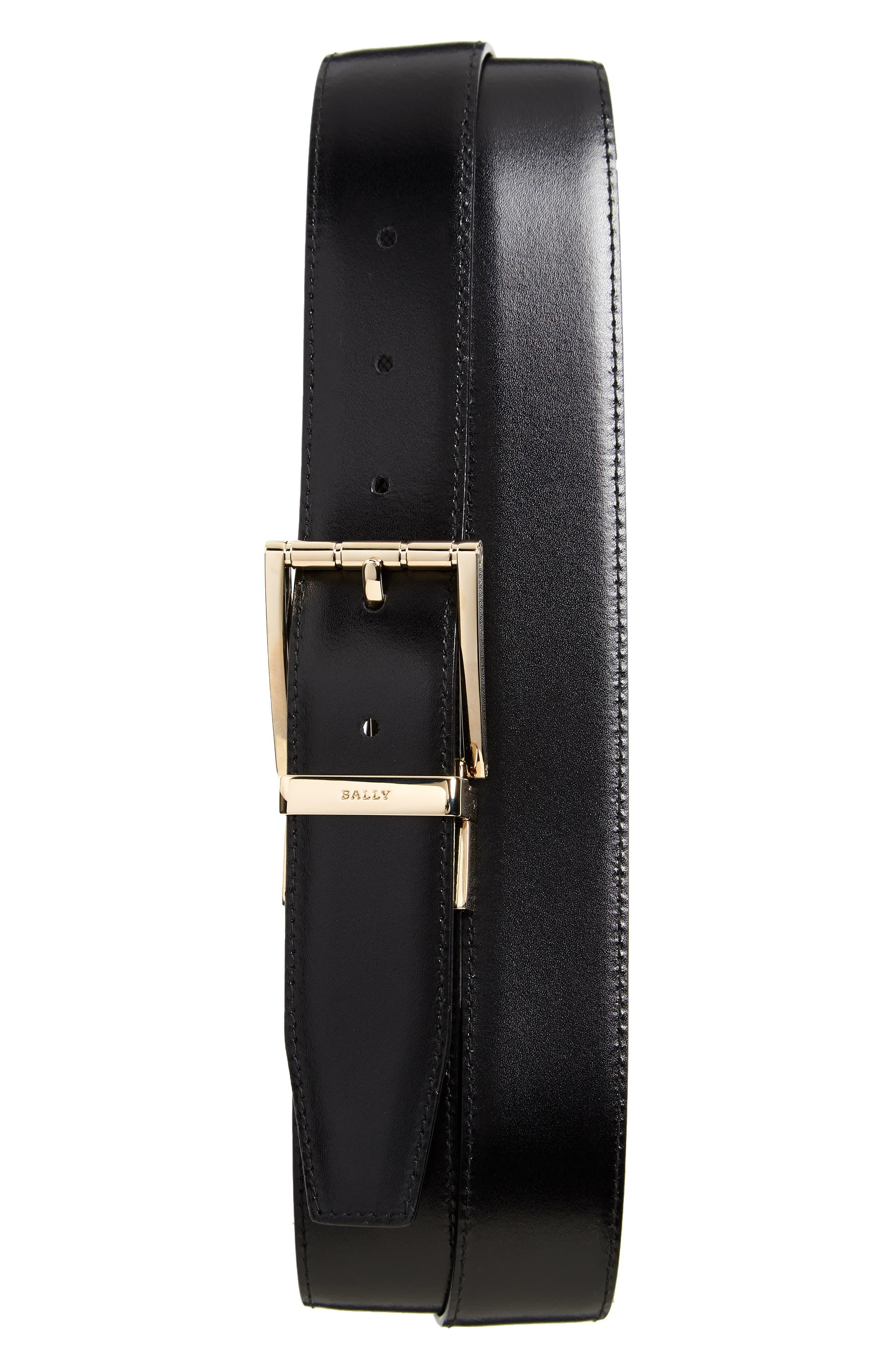 Astor Reversible Leather Belt,                             Alternate thumbnail 2, color,                             BLACK