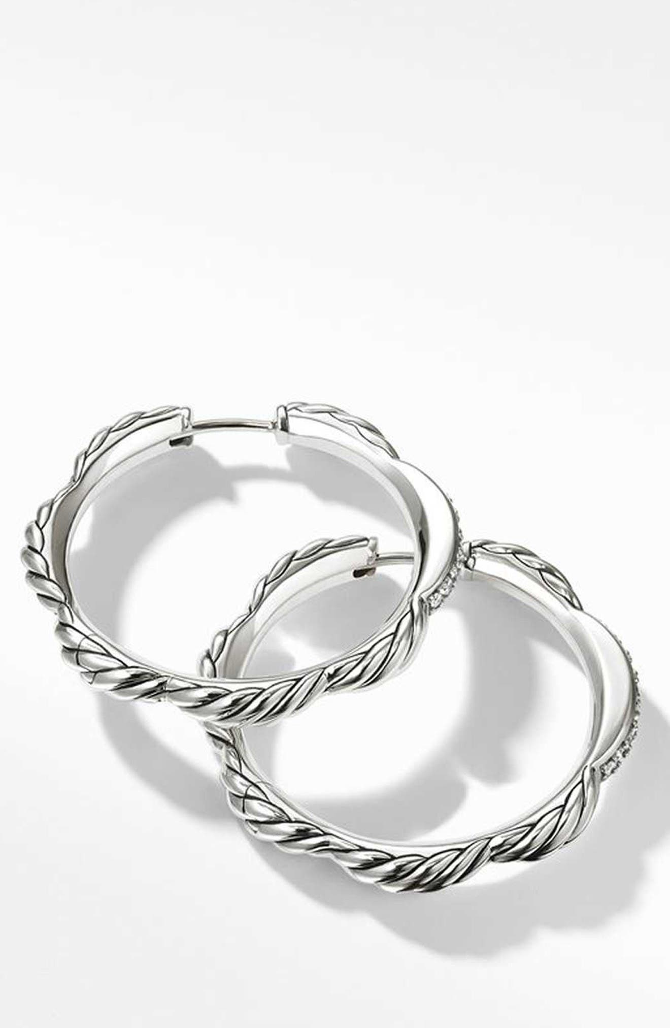 Tides Collection Hoop Earrings with Diamonds,                             Alternate thumbnail 2, color,                             STERLING SILVER/ DIAMOND