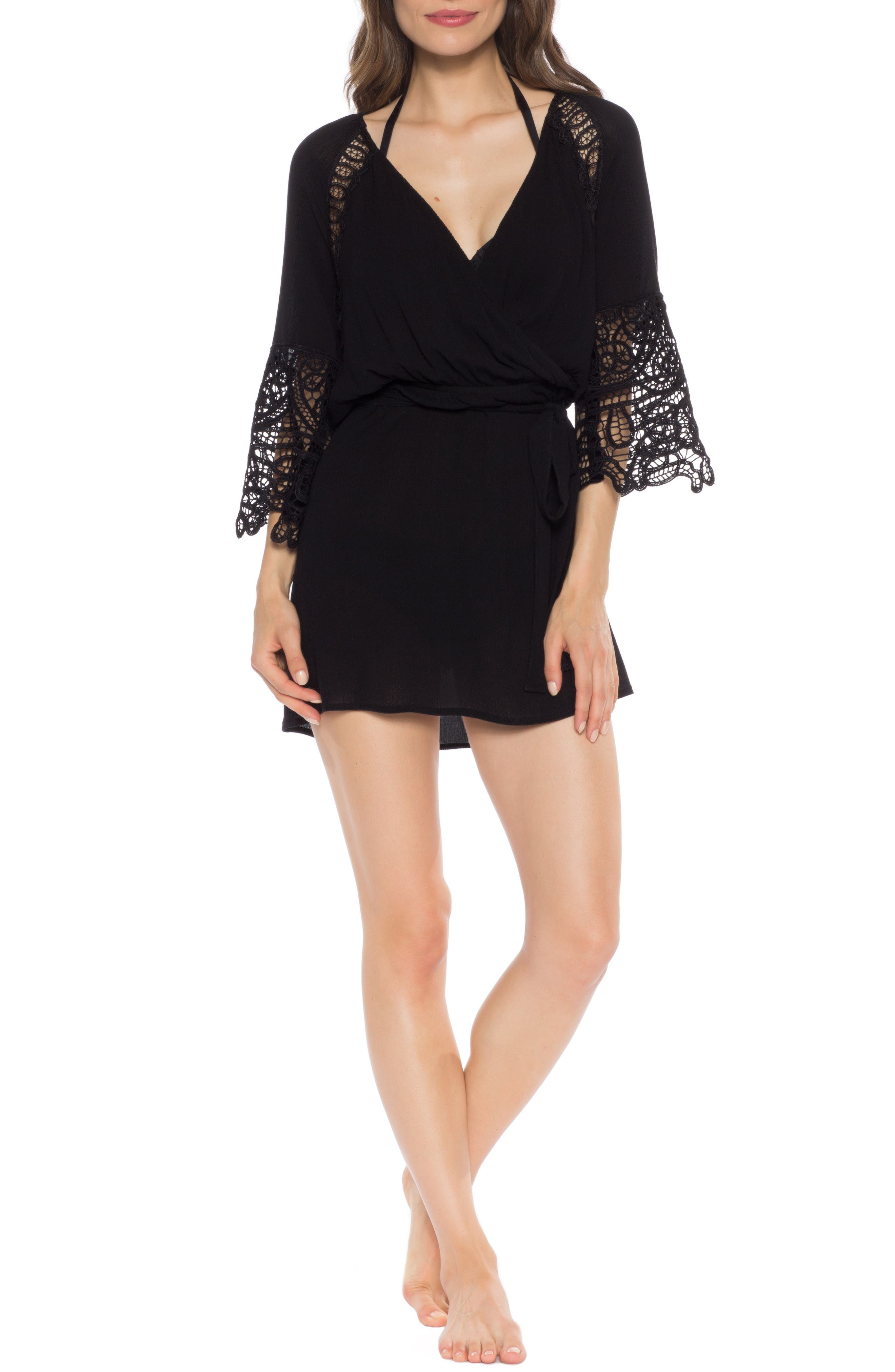 ISABELLA ROSE Homespun Lace Detail Cover-Up Tunic in Black