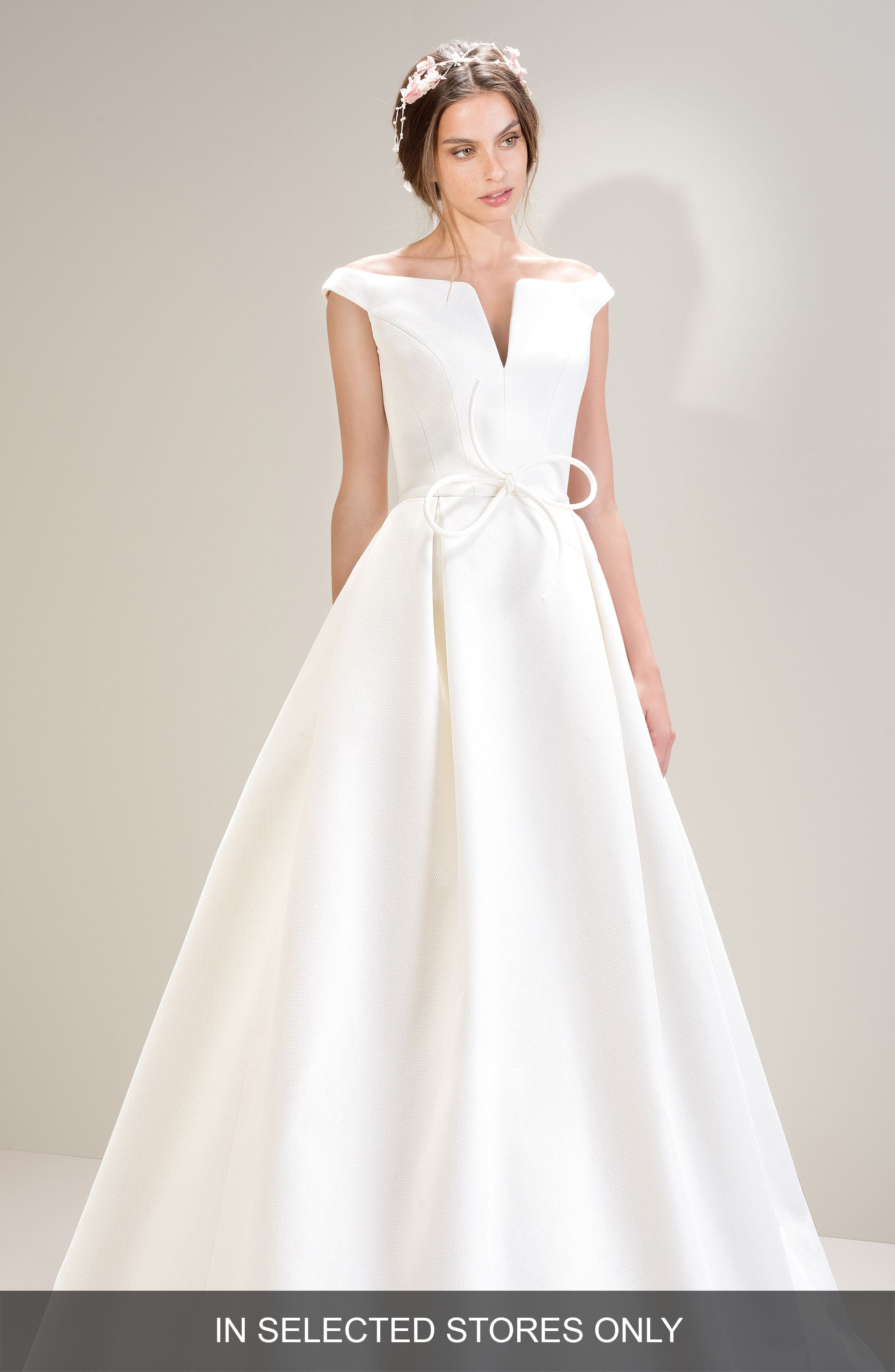 Off the Shoulder Pique Gown,                         Main,                         color, IVORY