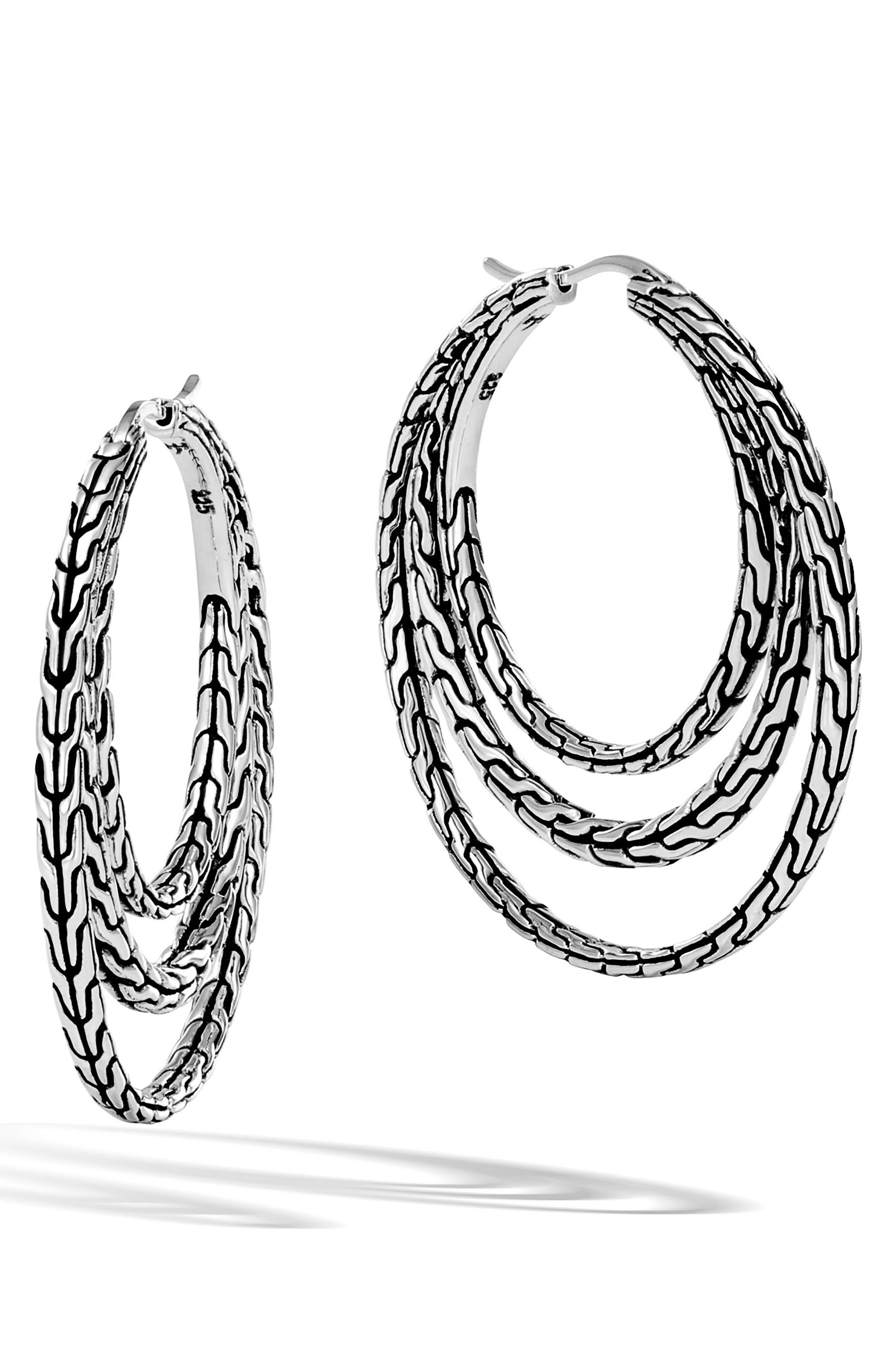 Classic Chain Medium Hoop Earrings,                             Main thumbnail 1, color,                             SILVER