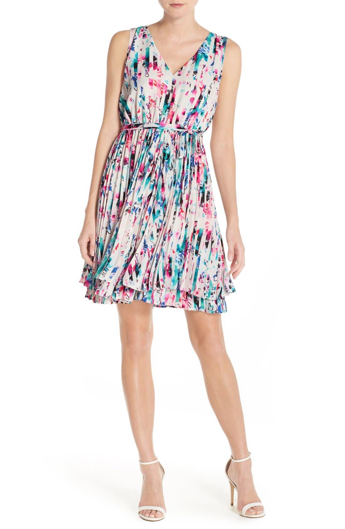 Print Woven Fit & Flare Dress,                             Alternate thumbnail 6, color,                             610