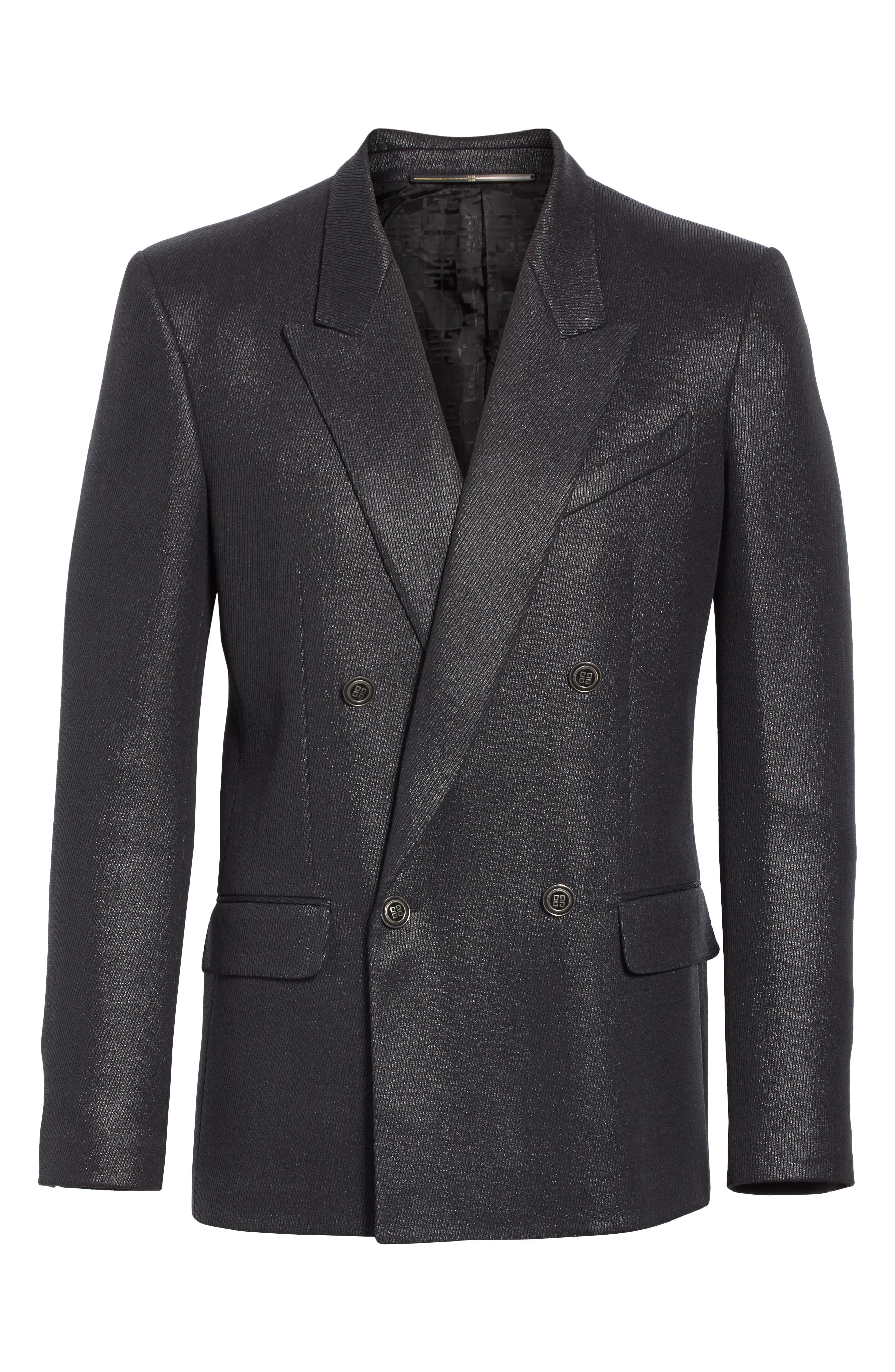 Double Breasted Wool Blazer,                             Alternate thumbnail 5, color,                             001