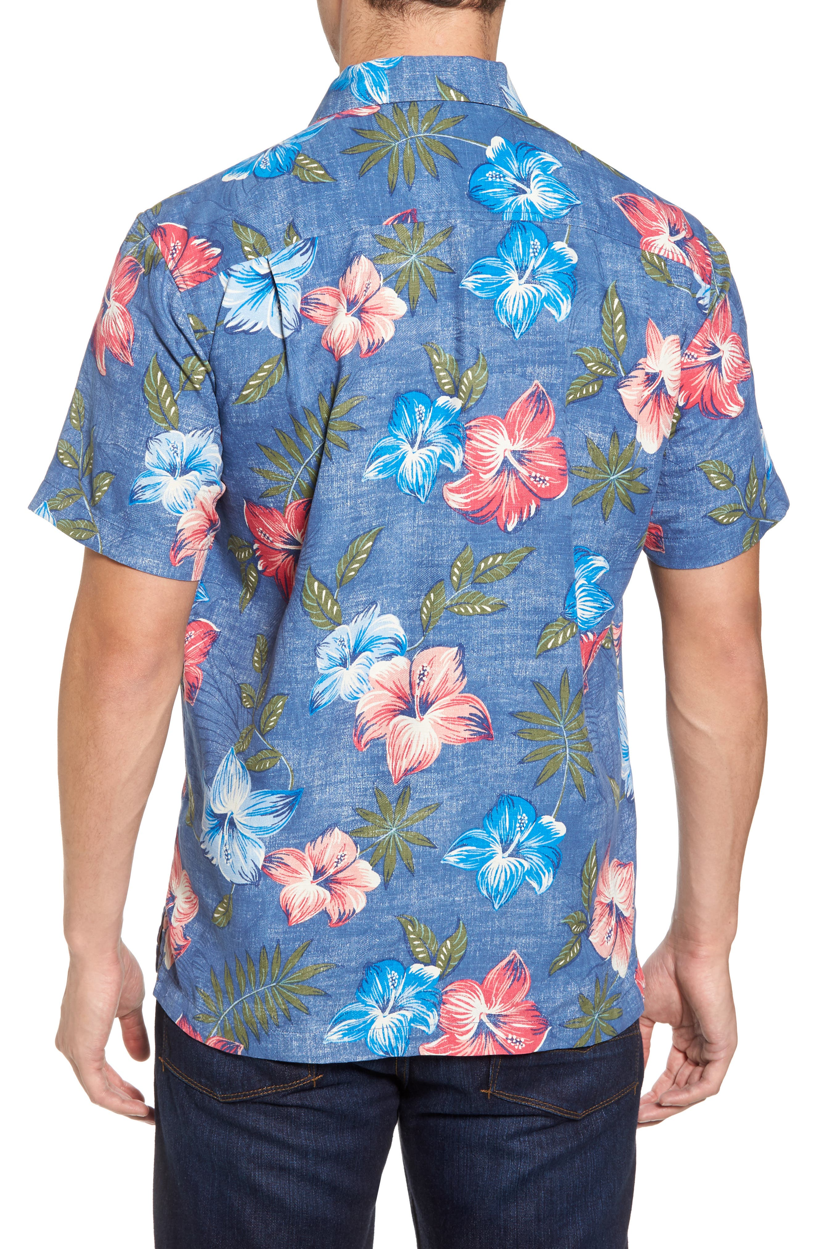 Hibiscus in the Mist Floral Silk Blend Sport Shirt,                             Alternate thumbnail 2, color,