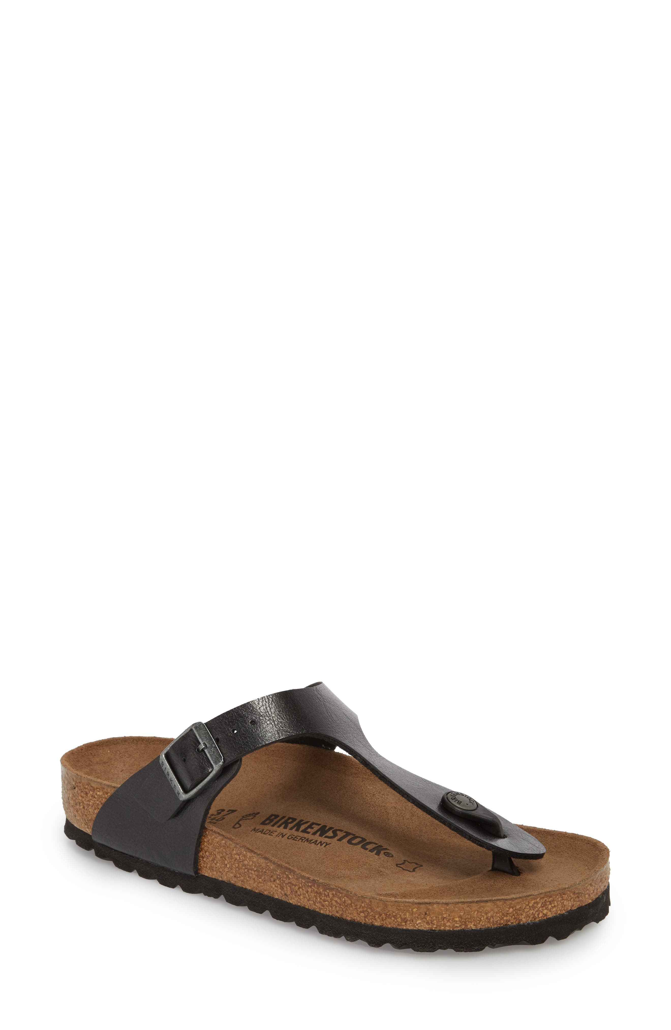 BIRKENSTOCK,                             Gizeh Birko-Flor<sup>™</sup> Thong,                             Main thumbnail 1, color,                             LICORICE