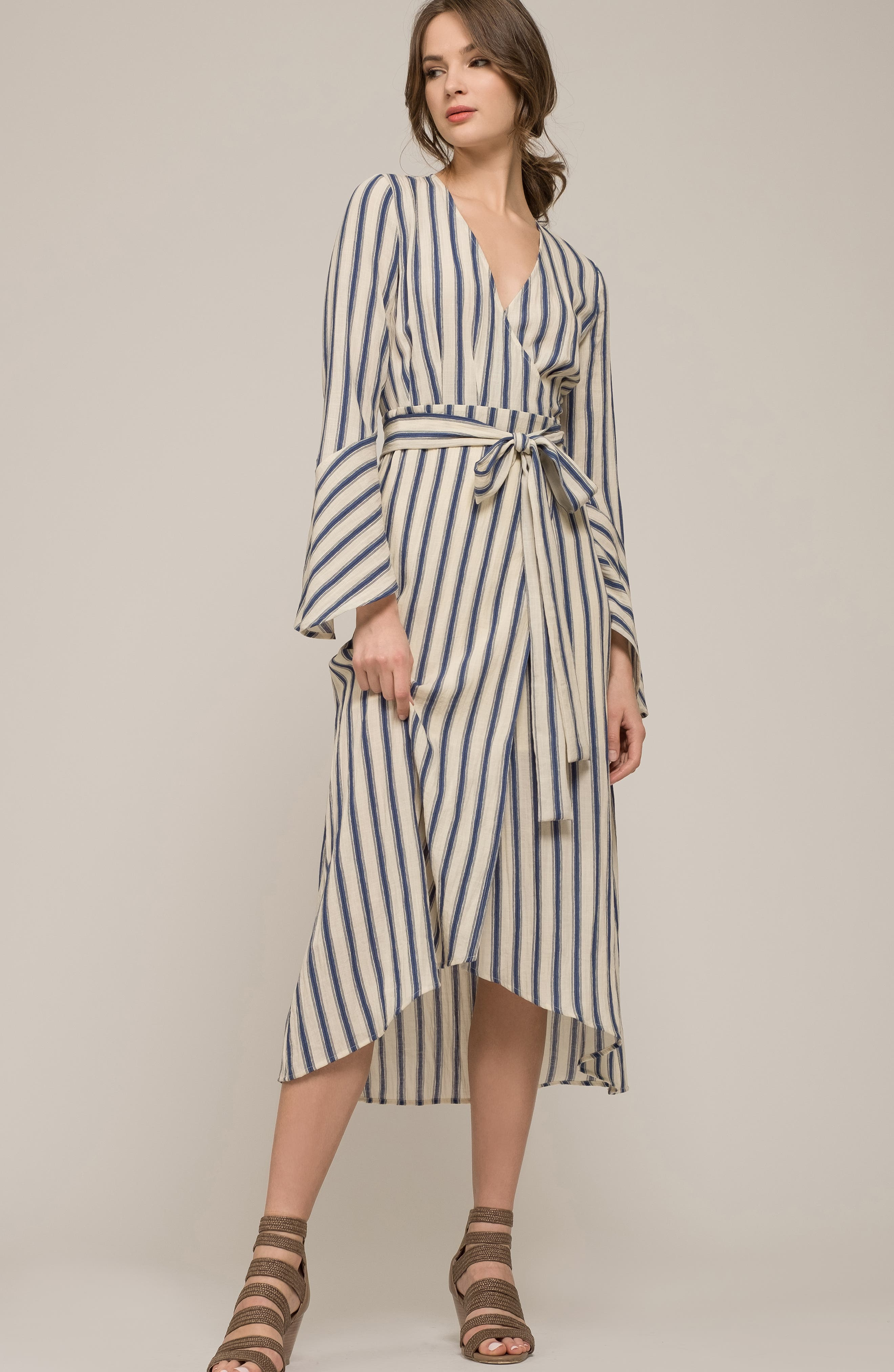 Stripe Flared Sleeve Wrap Dress,                             Alternate thumbnail 8, color,                             400