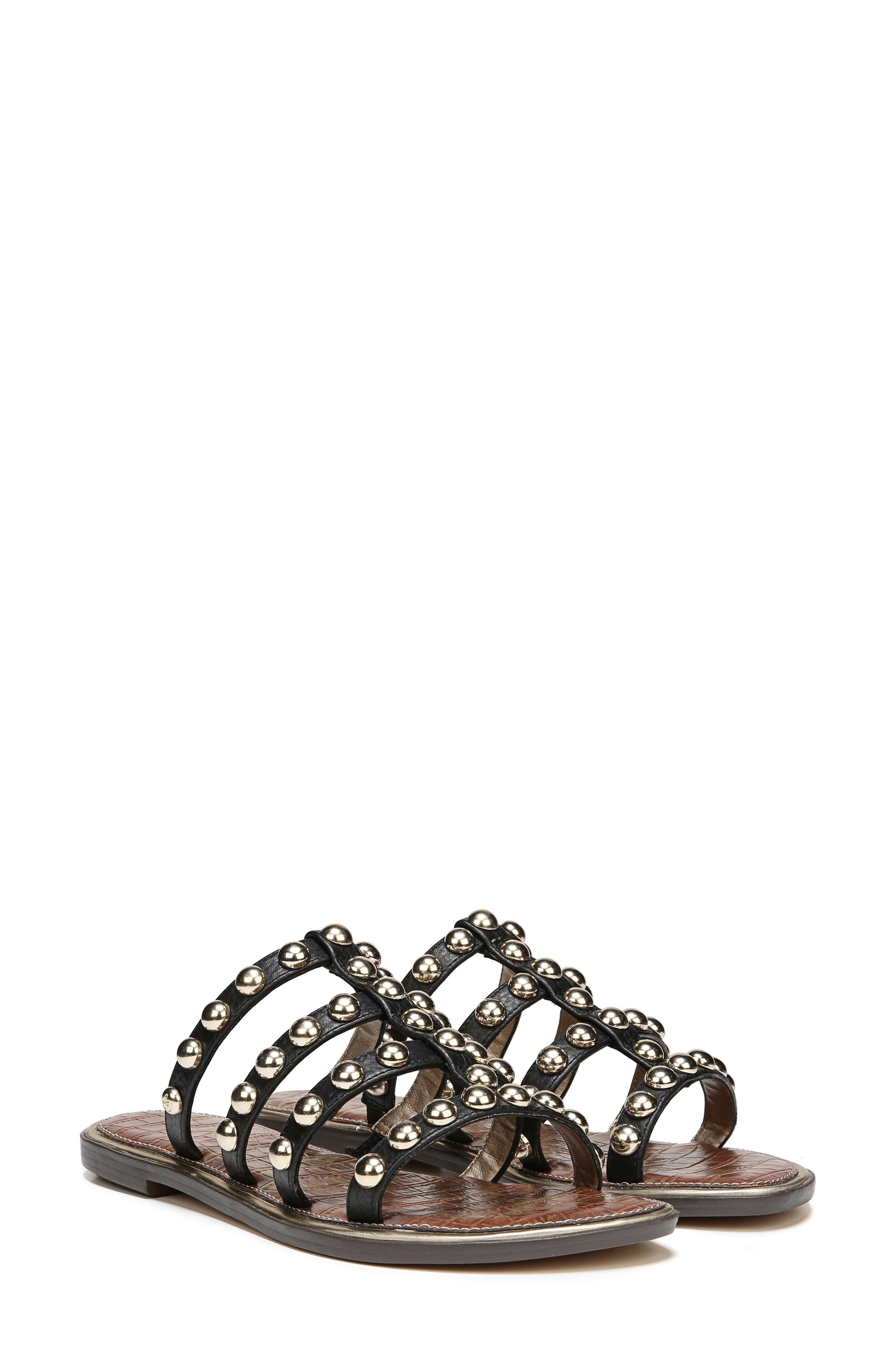 Glenn Studded Slide Sandal,                             Alternate thumbnail 7, color,                             001
