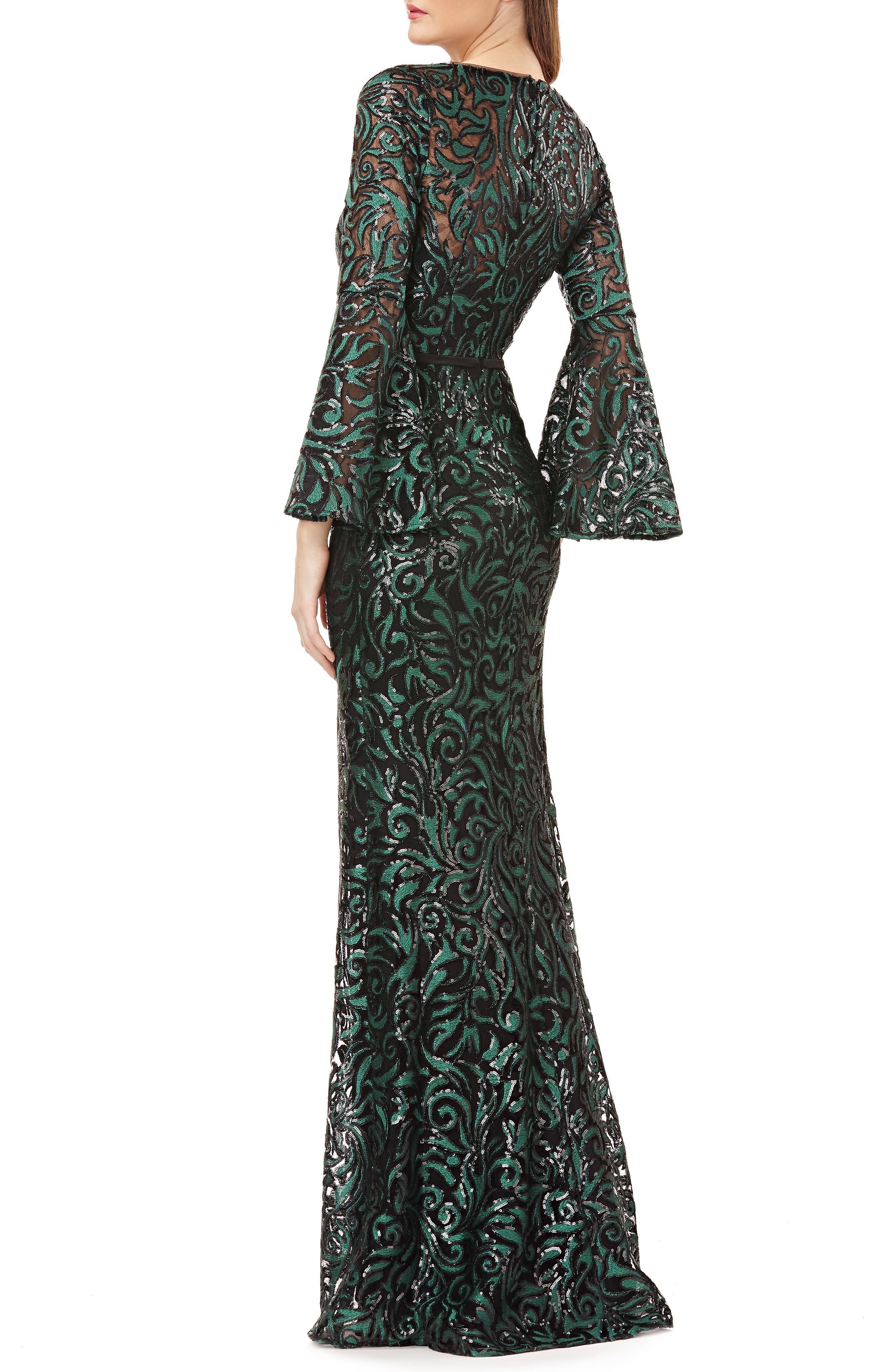 Sequin Embroidered Trumpet Gown,                             Alternate thumbnail 2, color,                             GREEN