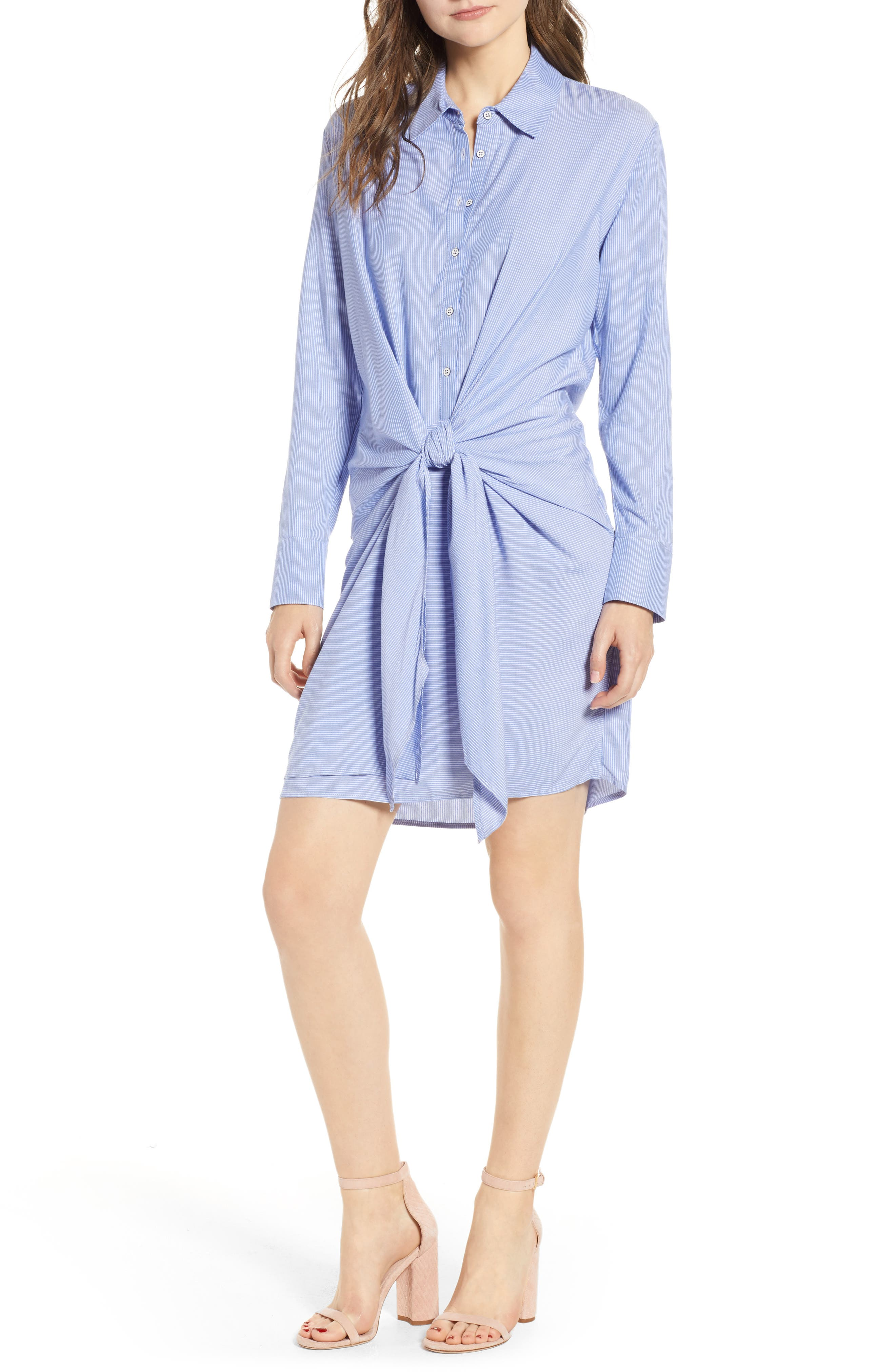 Knot Front Shirtdress,                         Main,                         color, INDIGO/ IVORY