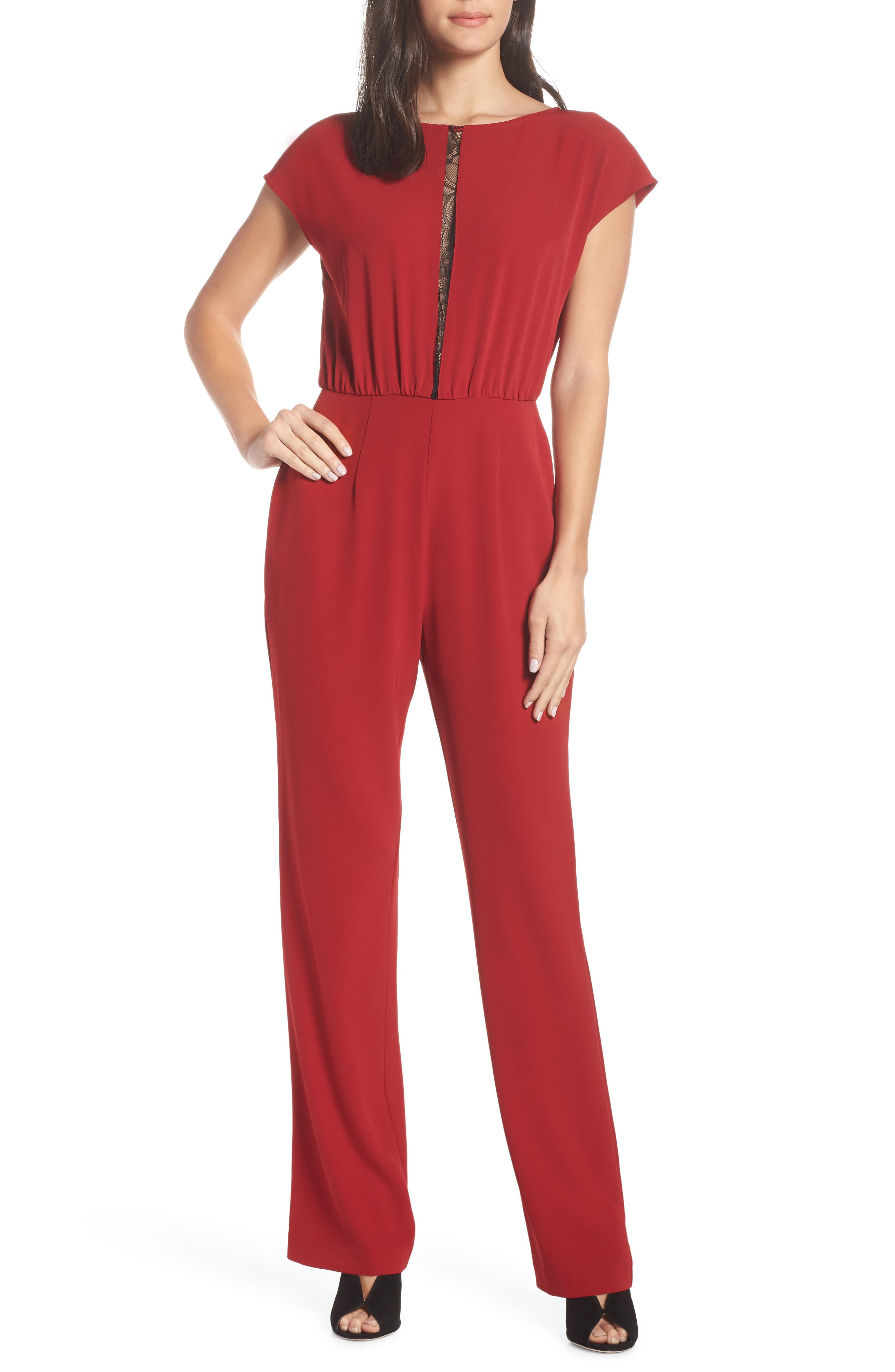CHARLES HENRY Lace Inset Jumpsuit in Ruby