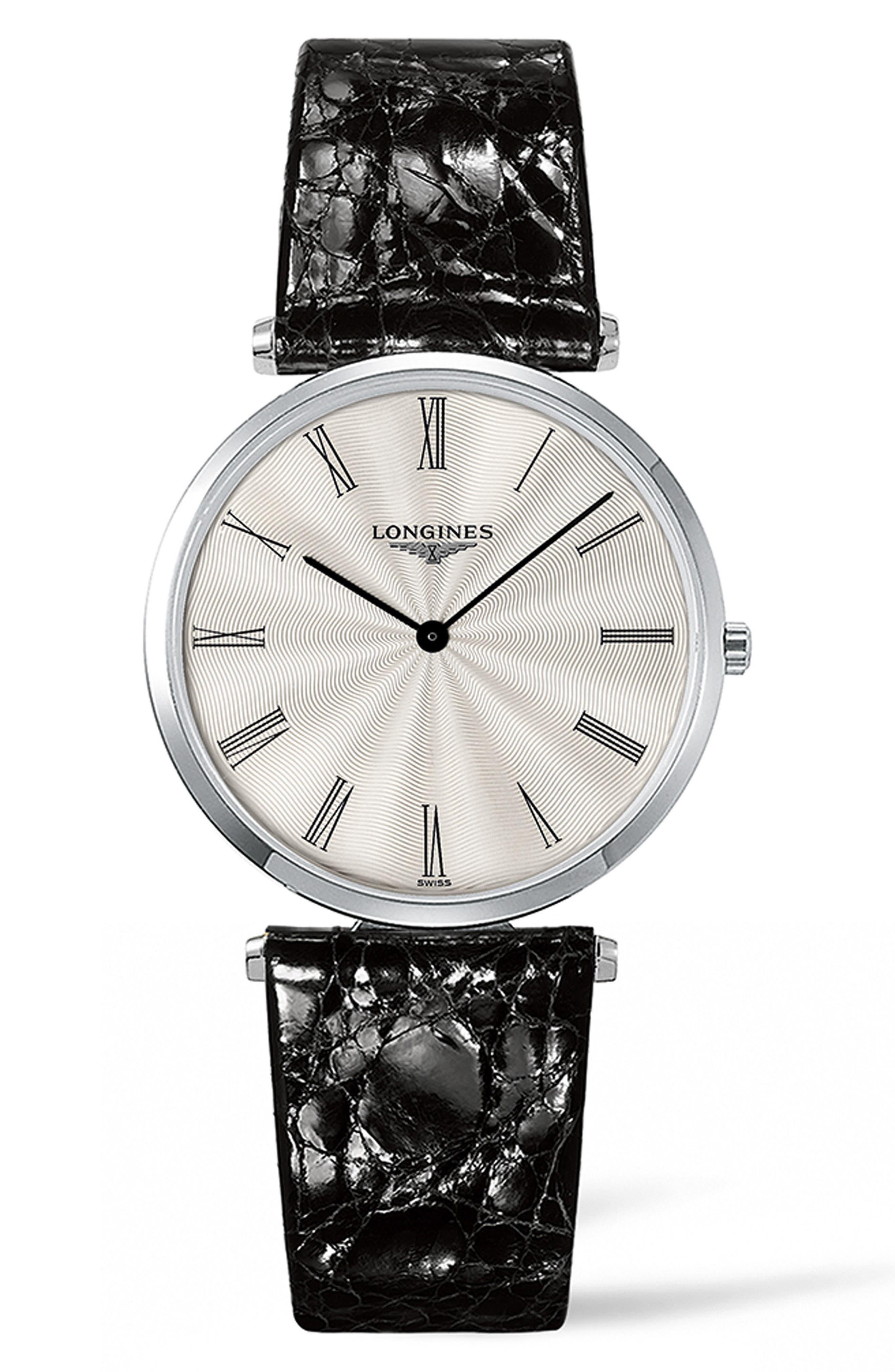 La Grande Classique de Longines Leather Strap Watch, 34mm,                         Main,                         color, BLACK/ SILVER