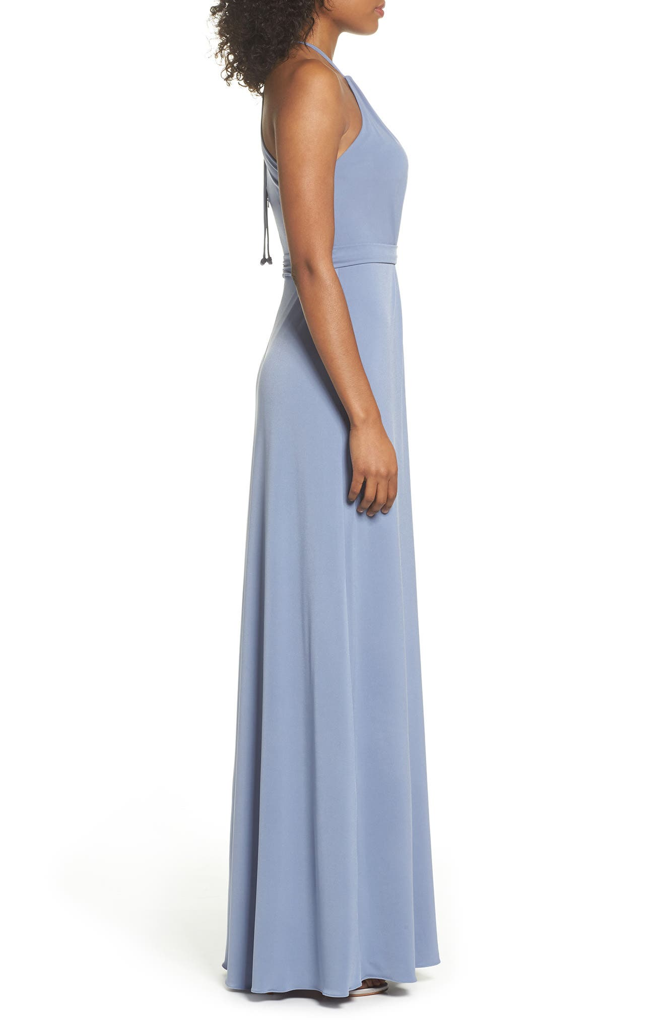 Sena Jersey Keyhole Halter Gown,                             Alternate thumbnail 3, color,                             SLATE