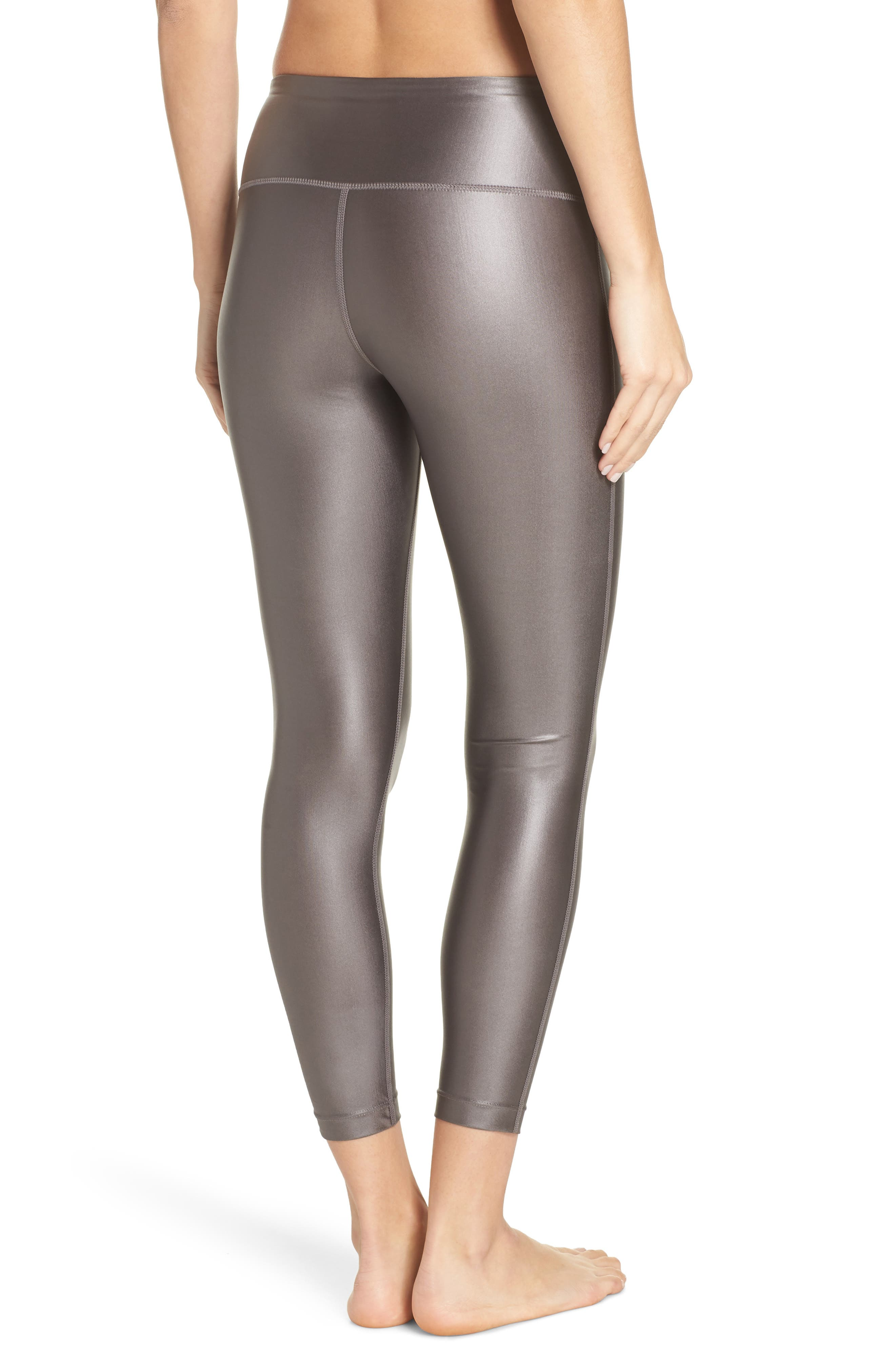 High Waist Shine Midi Leggings,                             Alternate thumbnail 2, color,                             GREY KITTEN