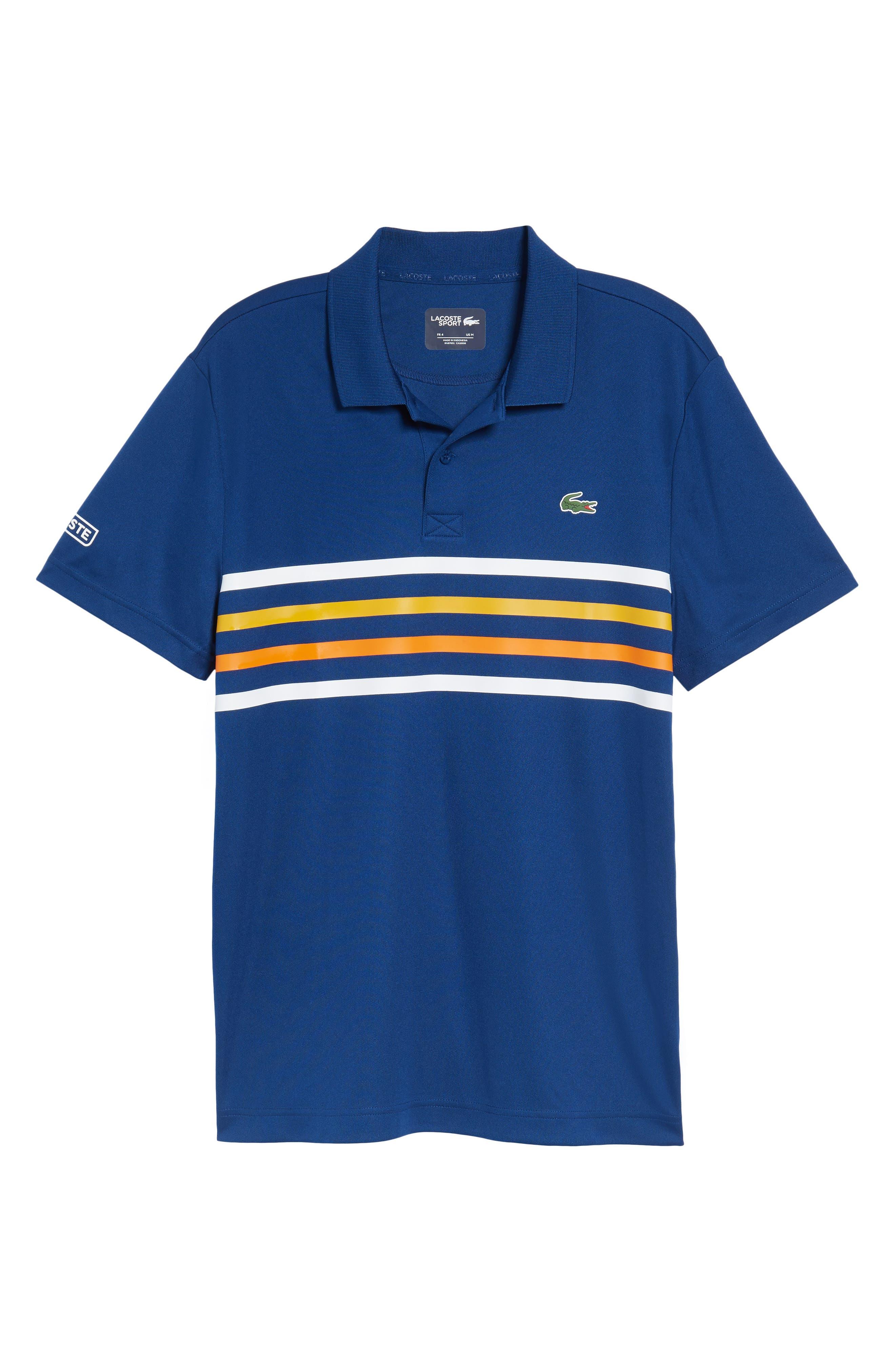 Sport Colored Bands Technical Piqué Tennis Polo,                             Alternate thumbnail 6, color,                             MARINO/ WHITE-BUTTERCUP
