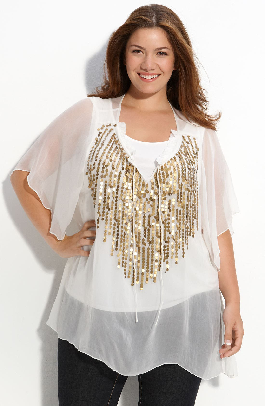 TBAGS LOS ANGELES,                             Tbags Embellished Sheer Top,                             Alternate thumbnail 2, color,                             900