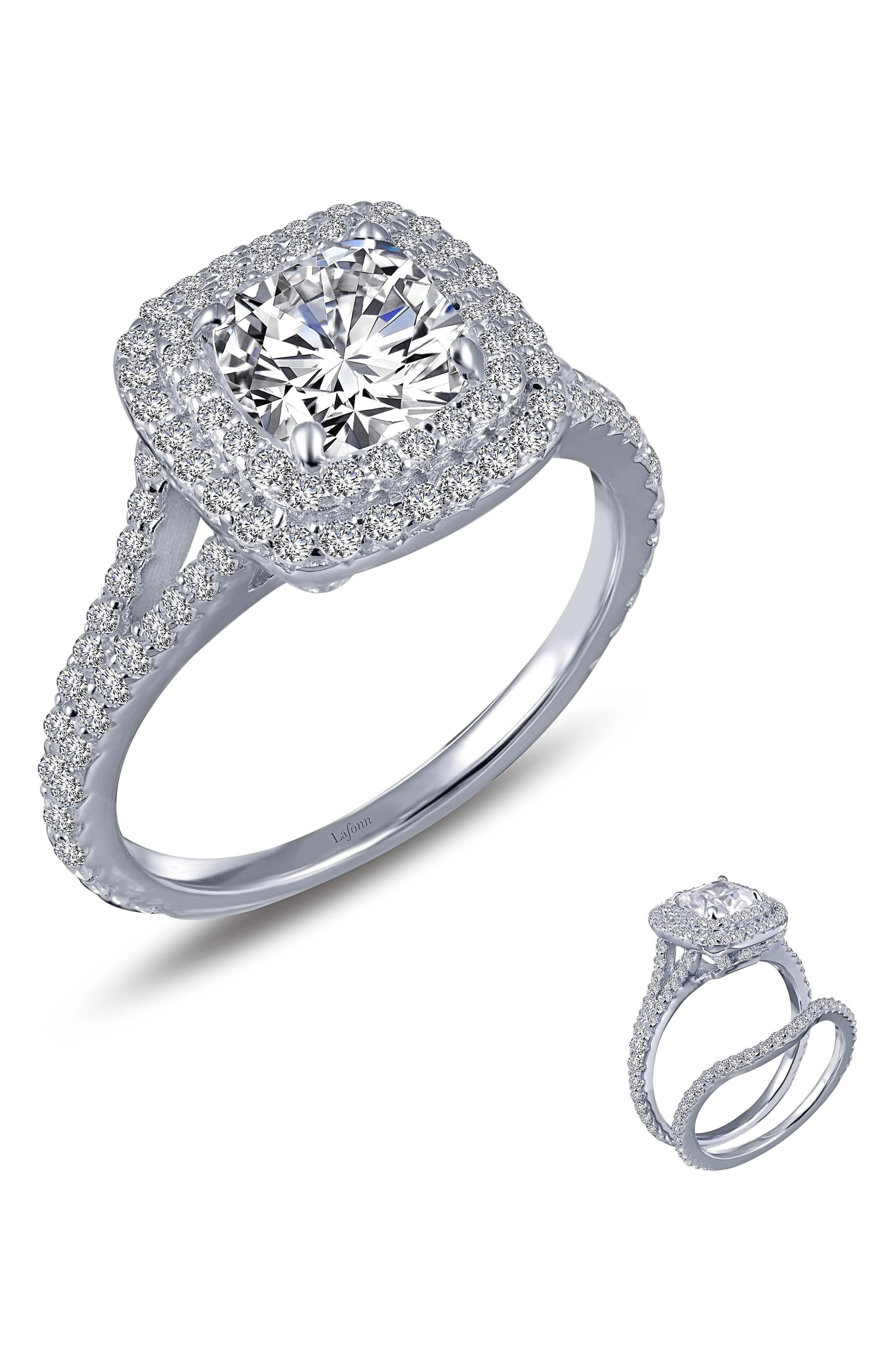 Double Halo Simulated Diamond Ring,                             Alternate thumbnail 3, color,                             040