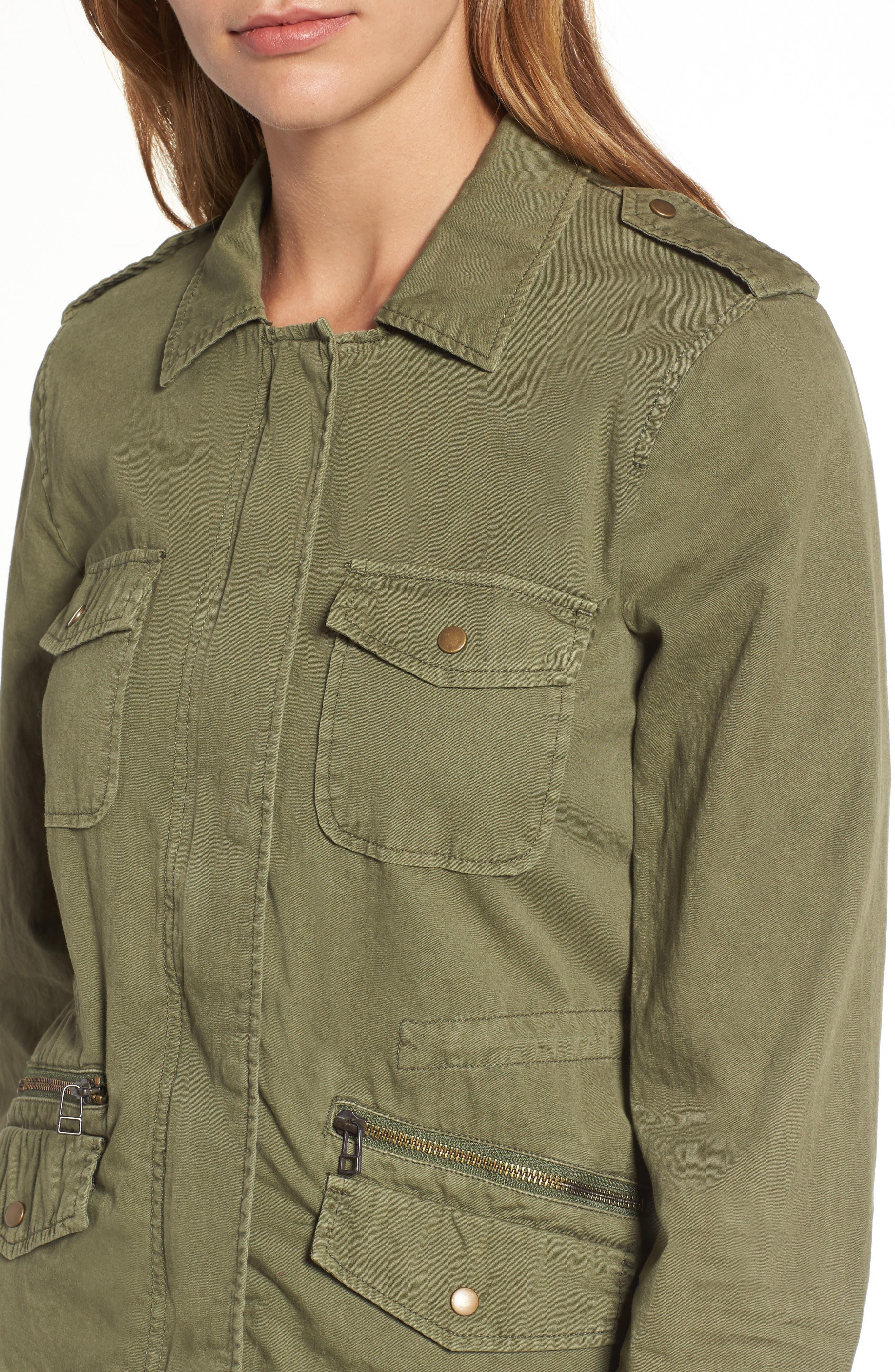 Lily Aldridge for Velvet by Graham & Spencer Army Jacket,                             Alternate thumbnail 6, color,                             FOREST GREEN