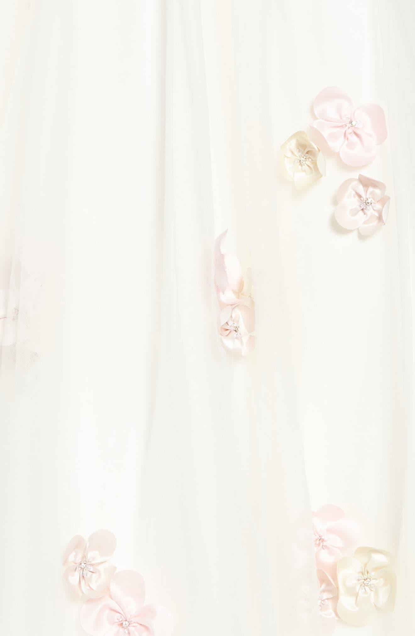 Beaded Satin & Tulle Dress,                             Alternate thumbnail 3, color,                             900