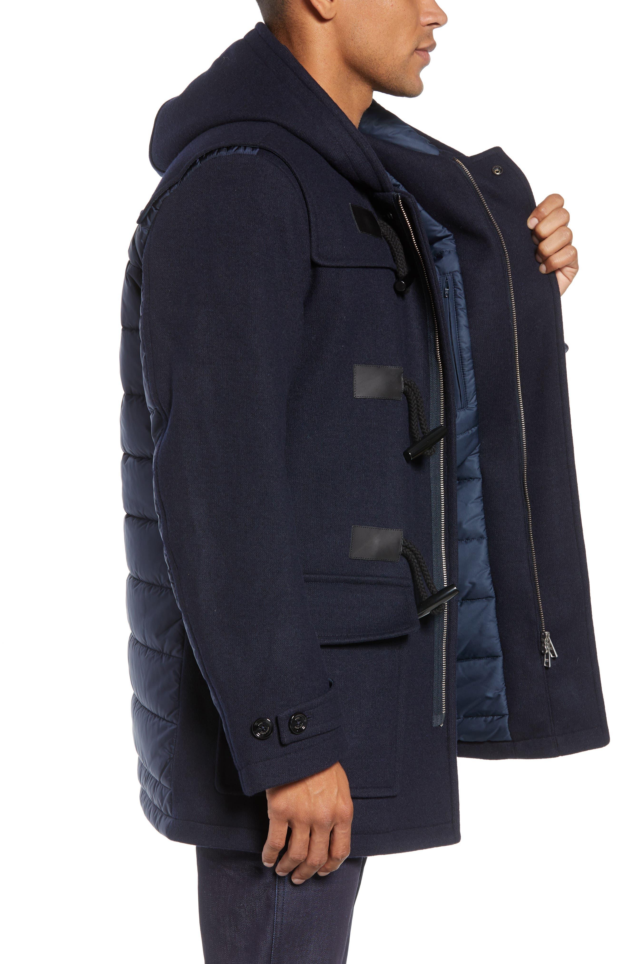 Casil Mixed Media Duffle Coat,                             Alternate thumbnail 3, color,                             BLUE