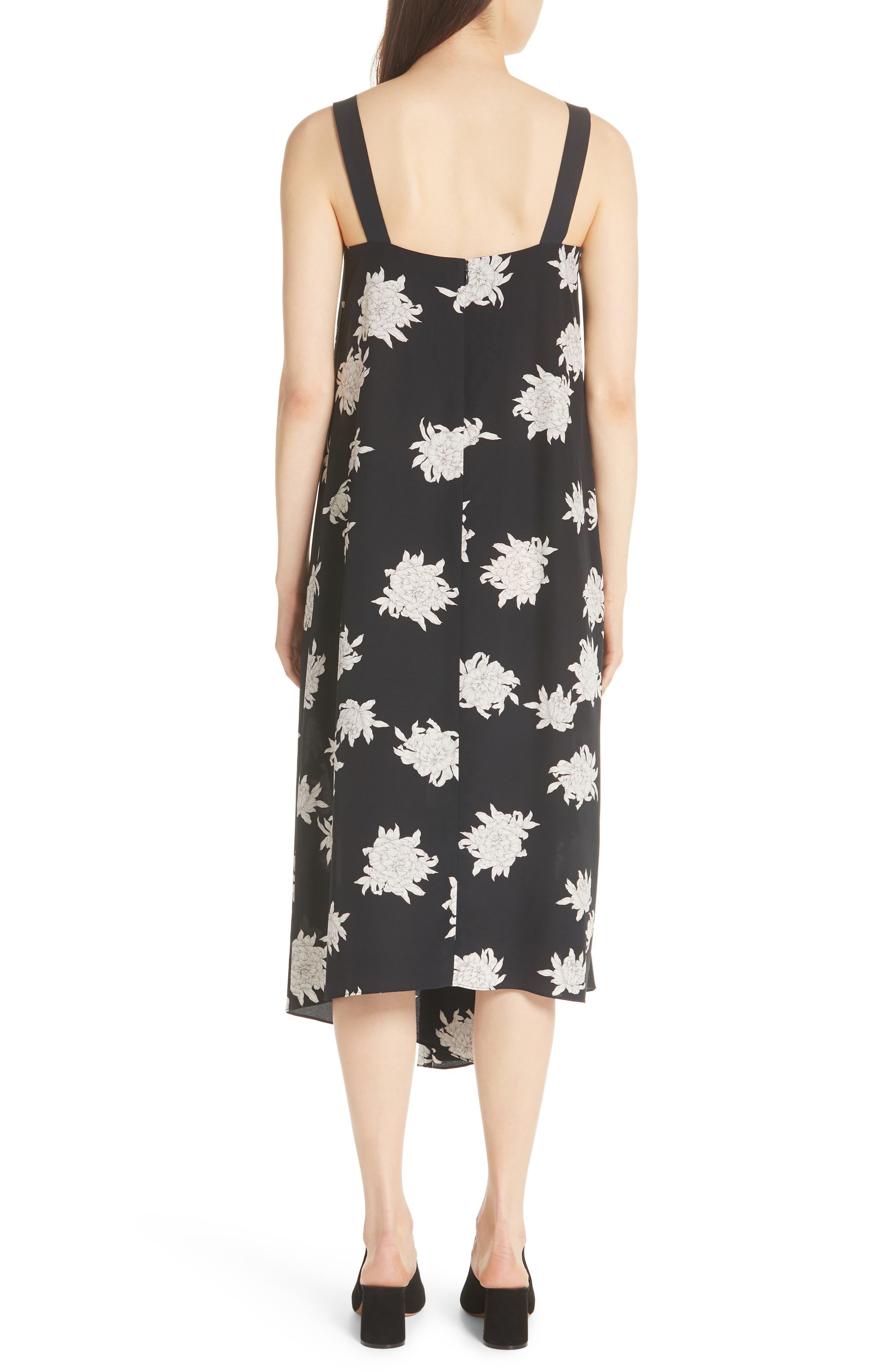 Chrysanthemum Print Silk Midi Dress,                             Alternate thumbnail 2, color,                             COASTAL