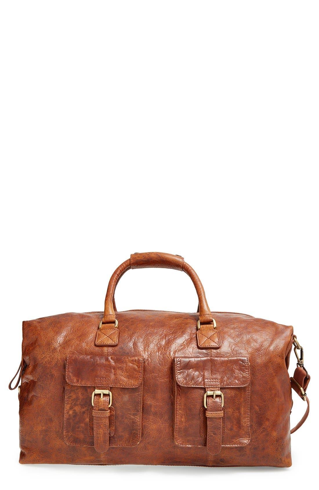 'Rugged' Leather Duffel Bag,                             Main thumbnail 1, color,                             COGNAC