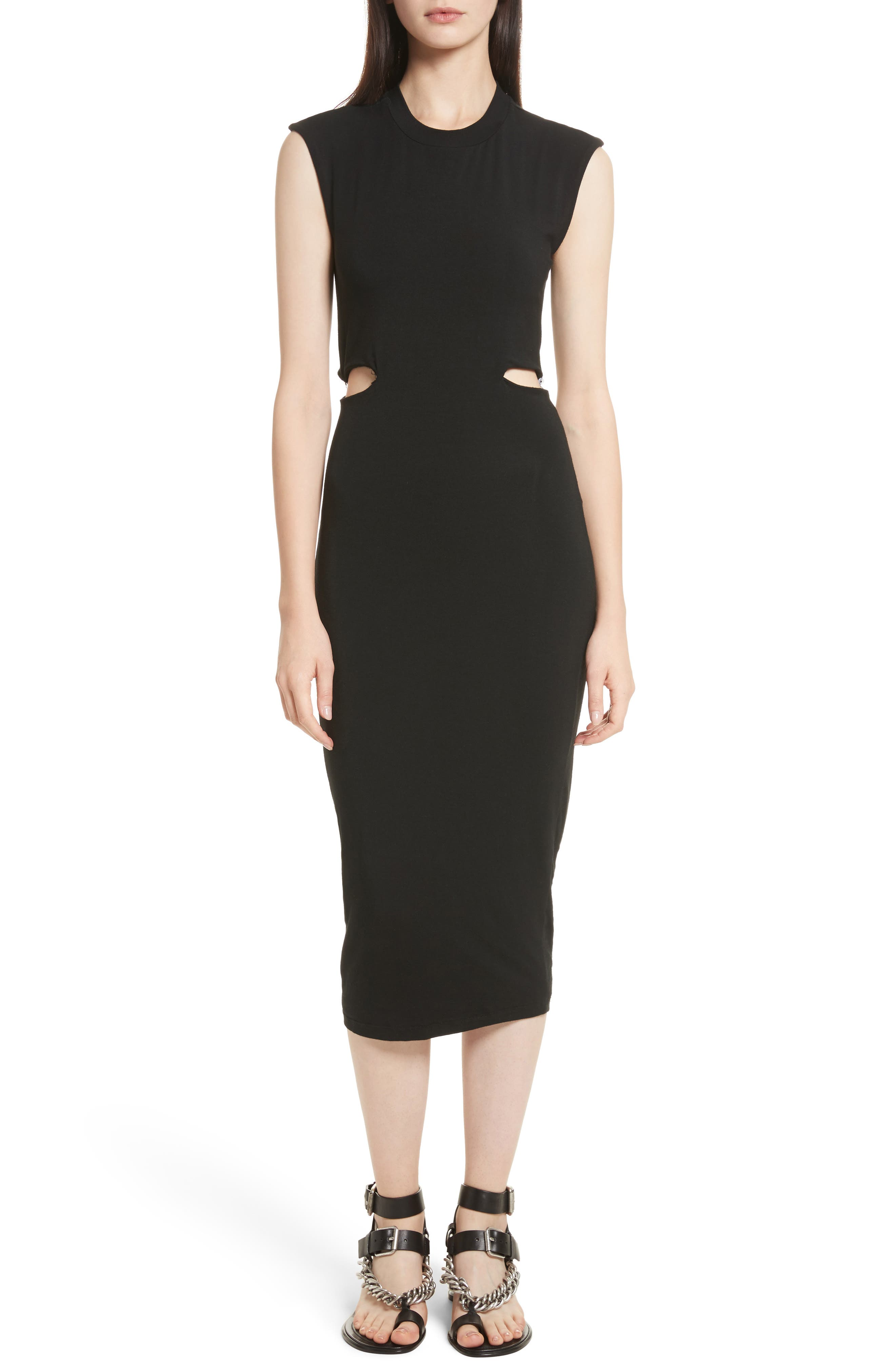 Cutout Stretch Jersey Dress,                             Main thumbnail 1, color,                             001