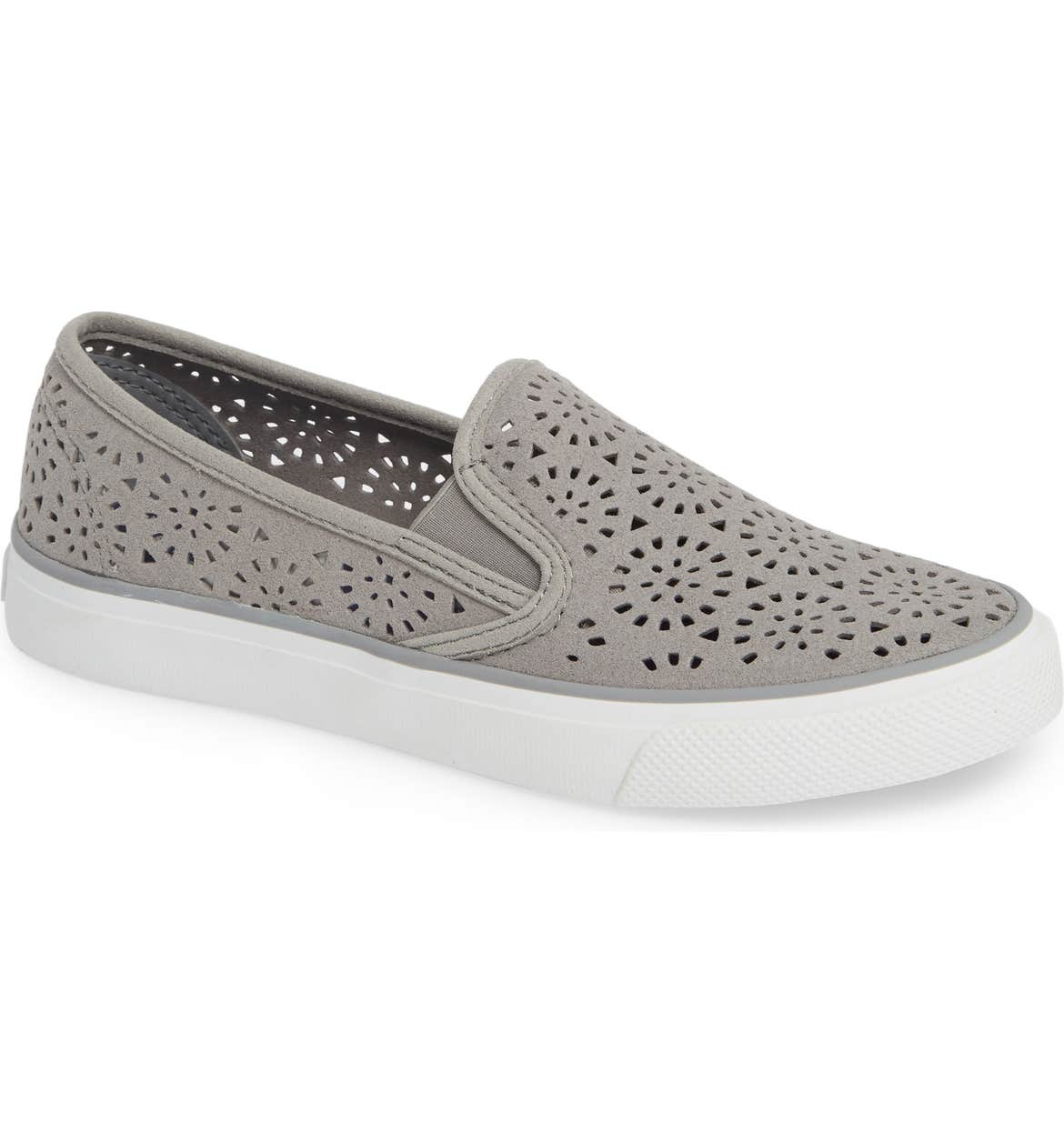 SPERRY Seaside Nautical Perforated Slip-On Sneaker, Main, color, GREY NUBUCK LEATHER