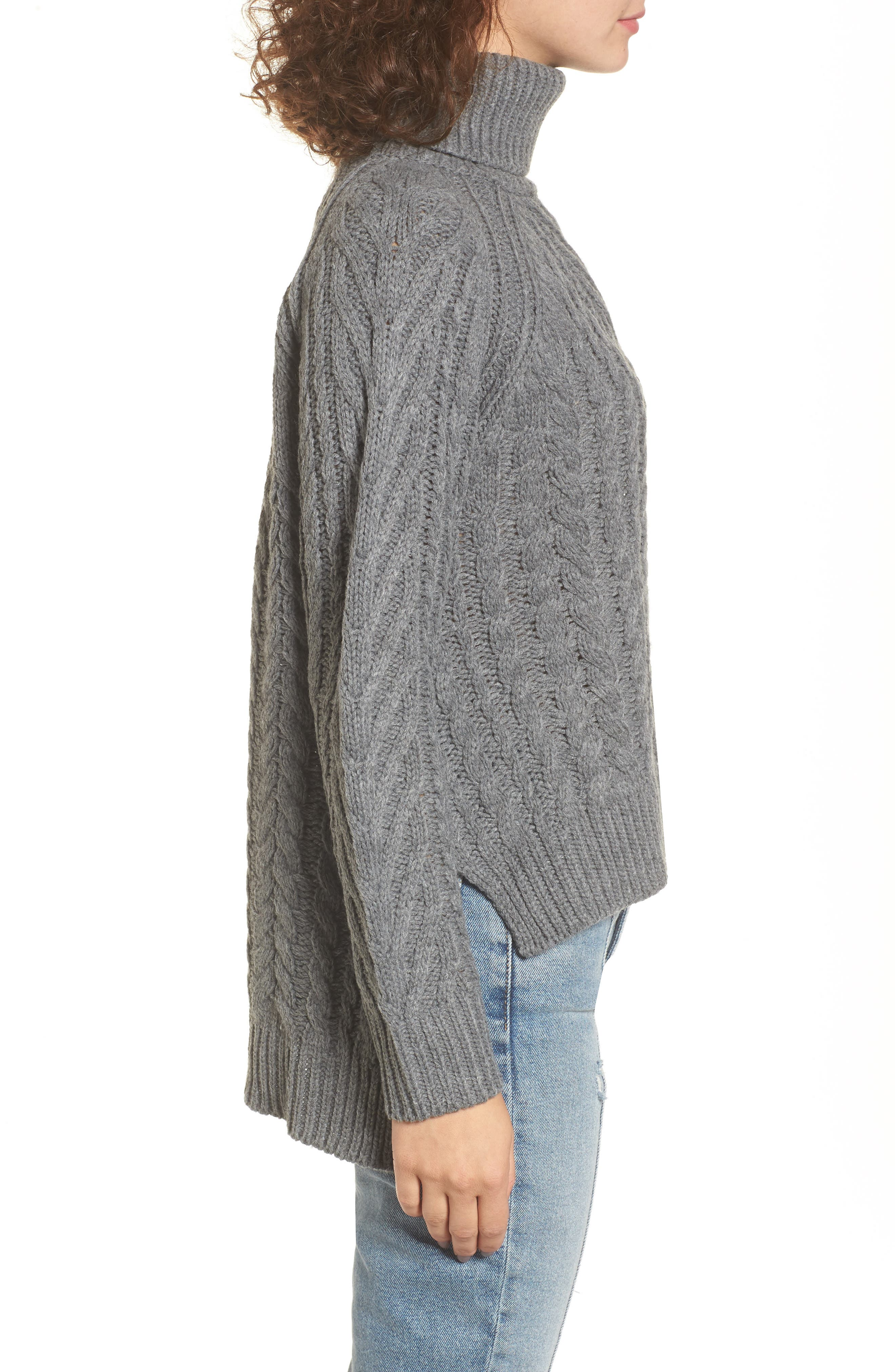 Cable Knit Turtleneck Sweater,                             Alternate thumbnail 3, color,                             020