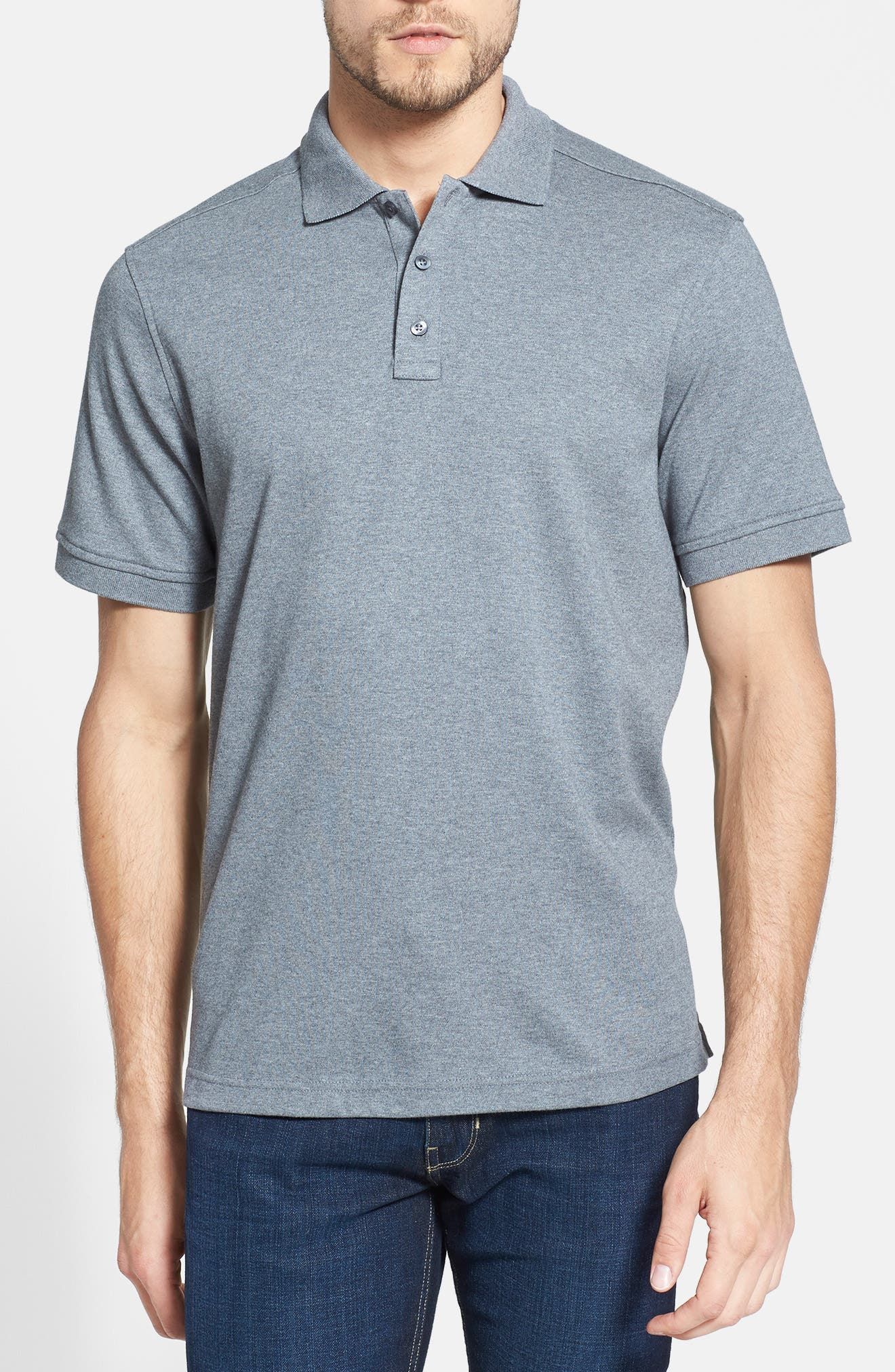 Regular Fit Interlock Knit Polo,                         Main,                         color, GREY CLOUDY HEATHER