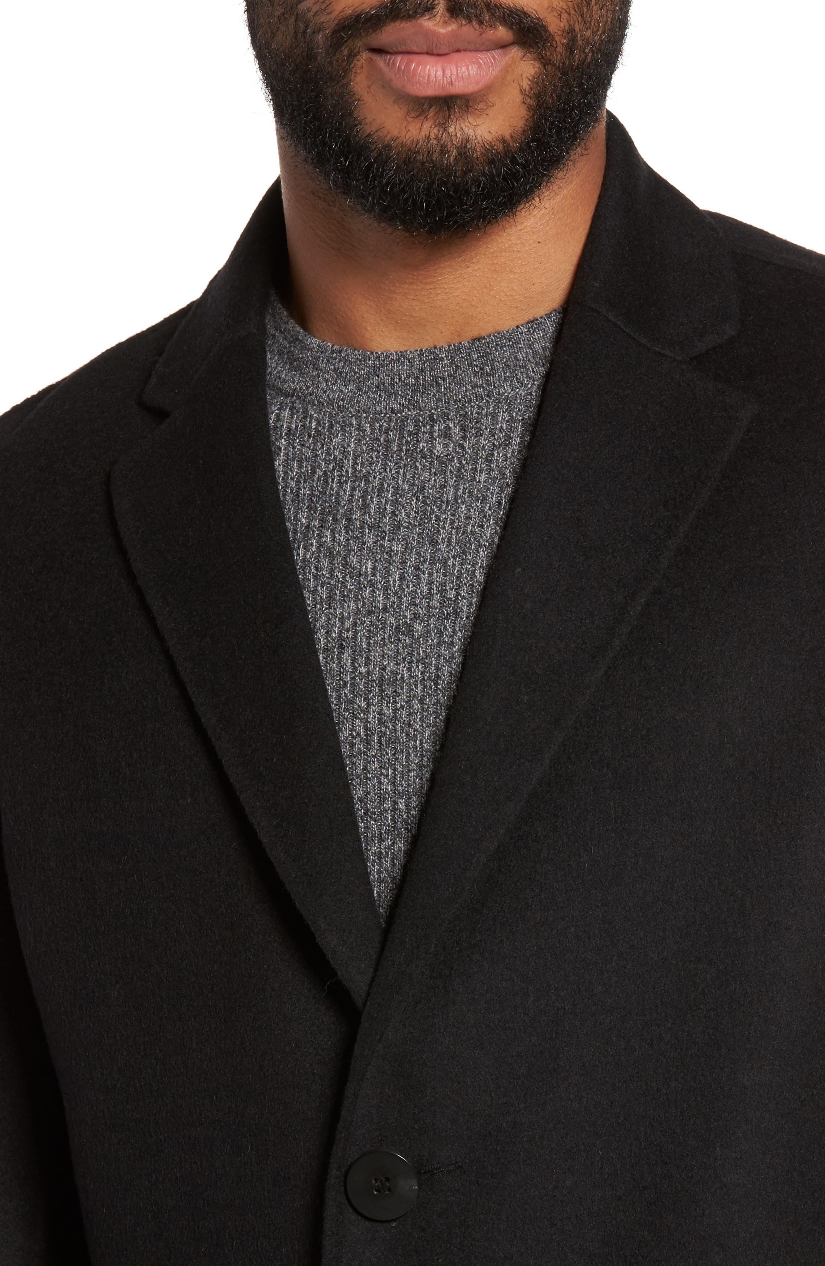 Wool Blend Topcoat,                             Alternate thumbnail 4, color,                             BLACK