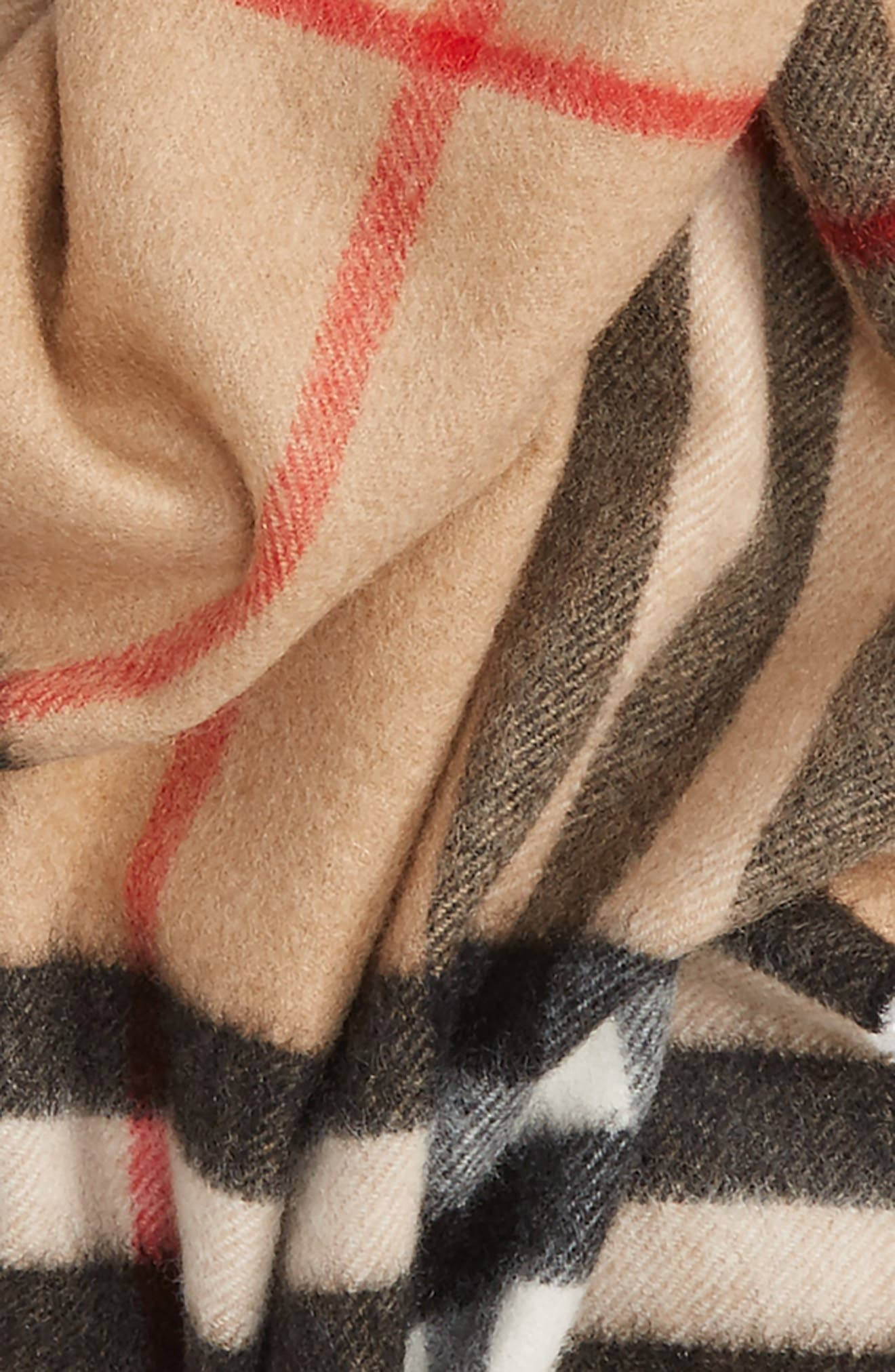 Heritage Giant Check Fringed Cashmere Muffler,                             Alternate thumbnail 4, color,                             CLASSIC
