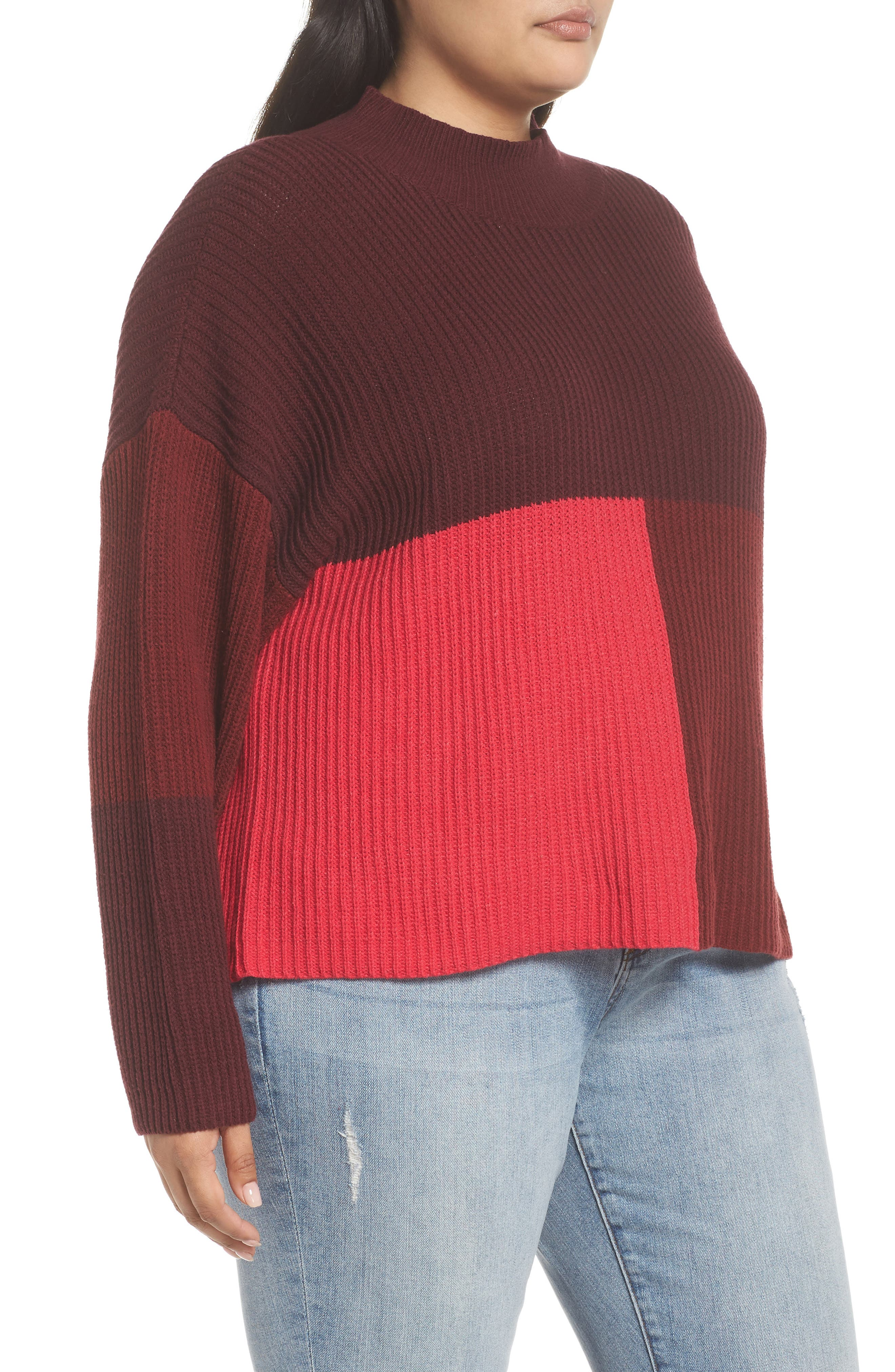 Mock Neck Colorblock Sweater,                             Alternate thumbnail 9, color,                             RED RUMBA COLORBLOCK