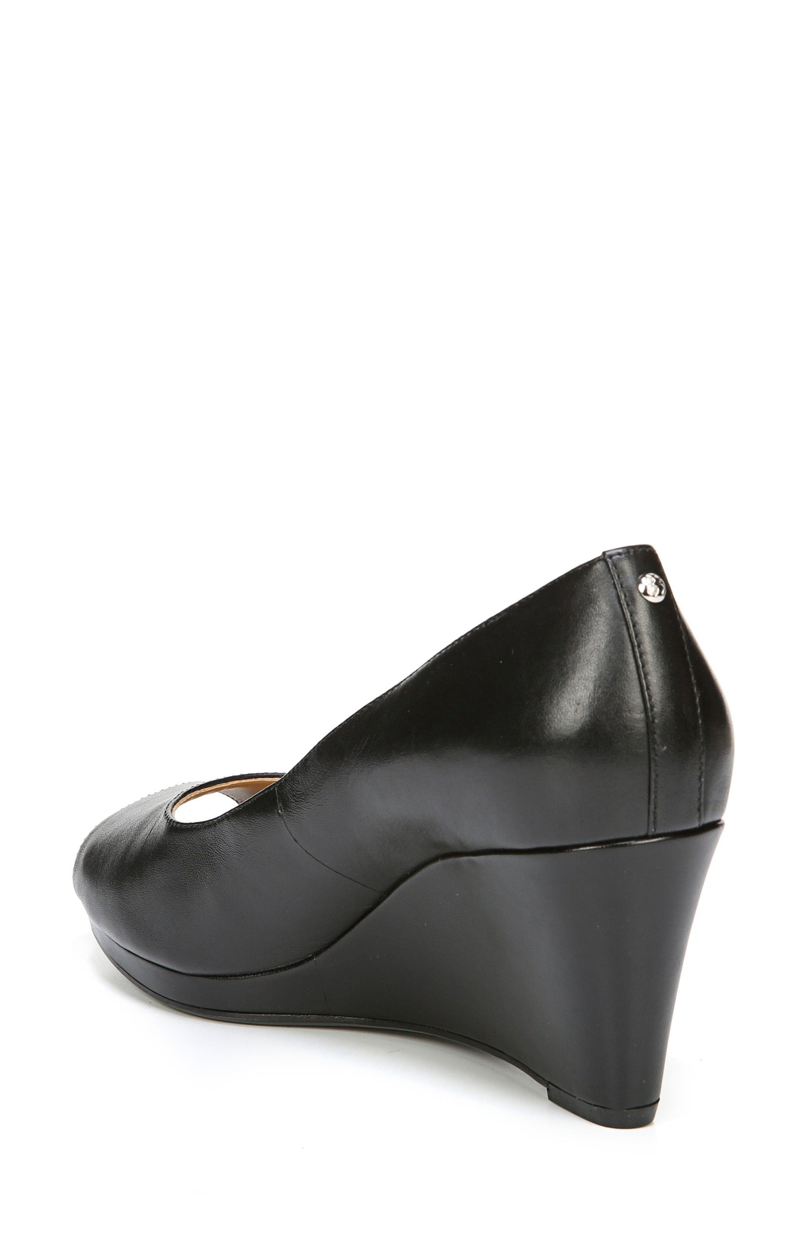 Olivia Peep Toe Wedge,                             Alternate thumbnail 2, color,                             BLACK LEATHER