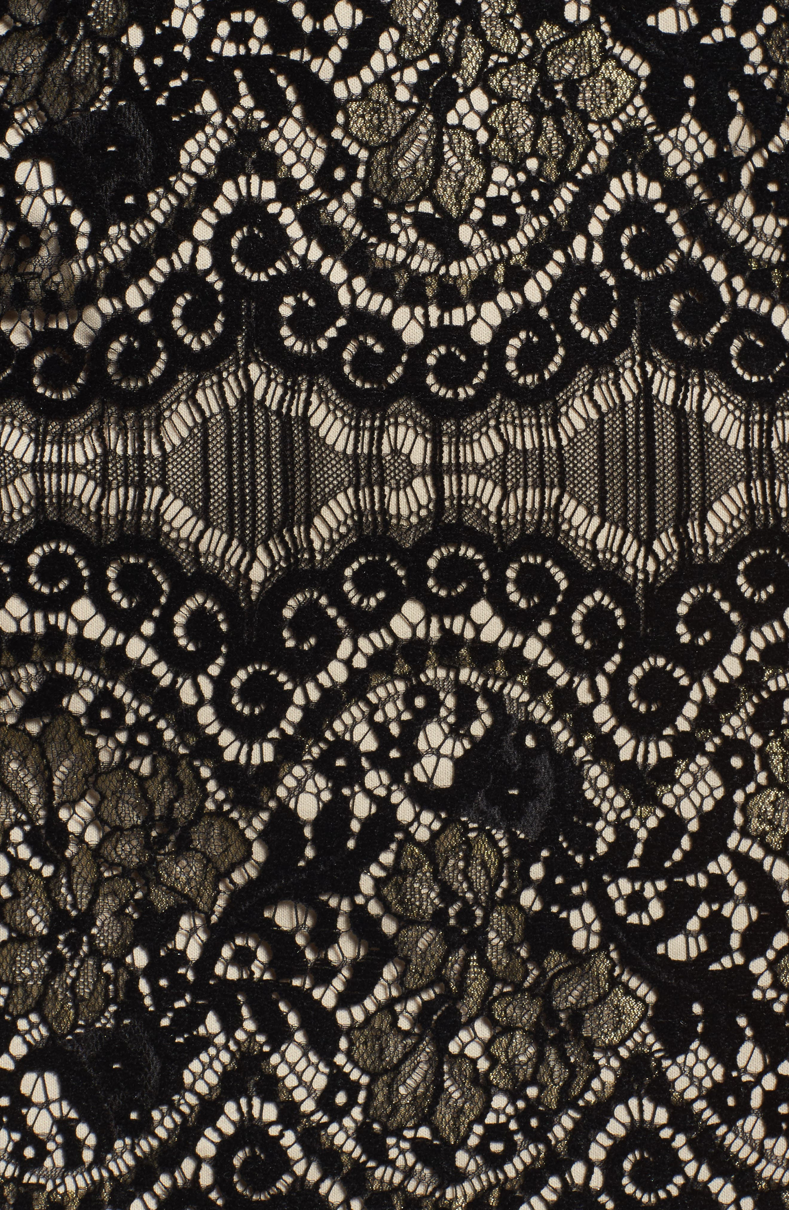 Flocked Lace Shift Dress,                             Alternate thumbnail 5, color,                             001